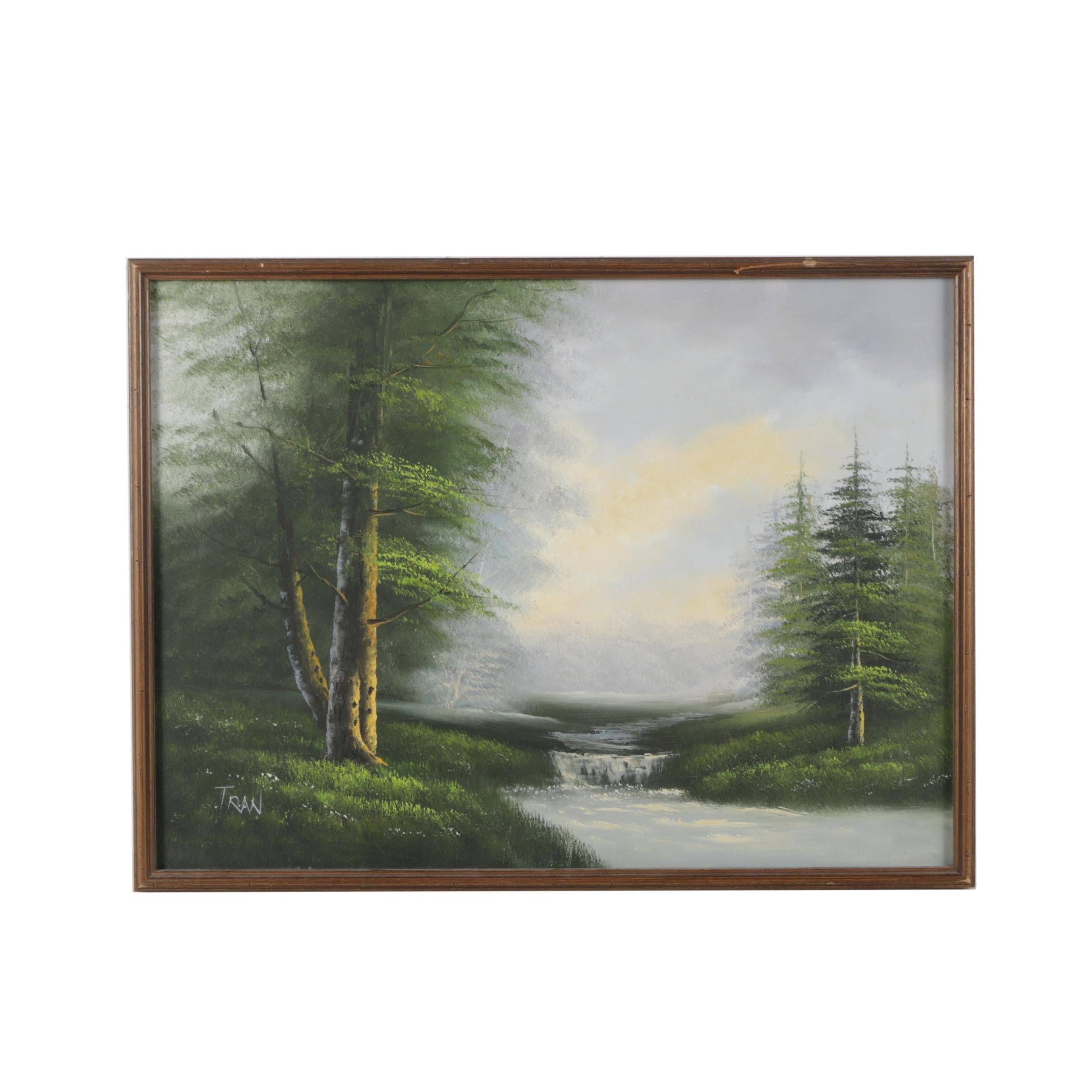 Tran Oil Painting of Forest Scene