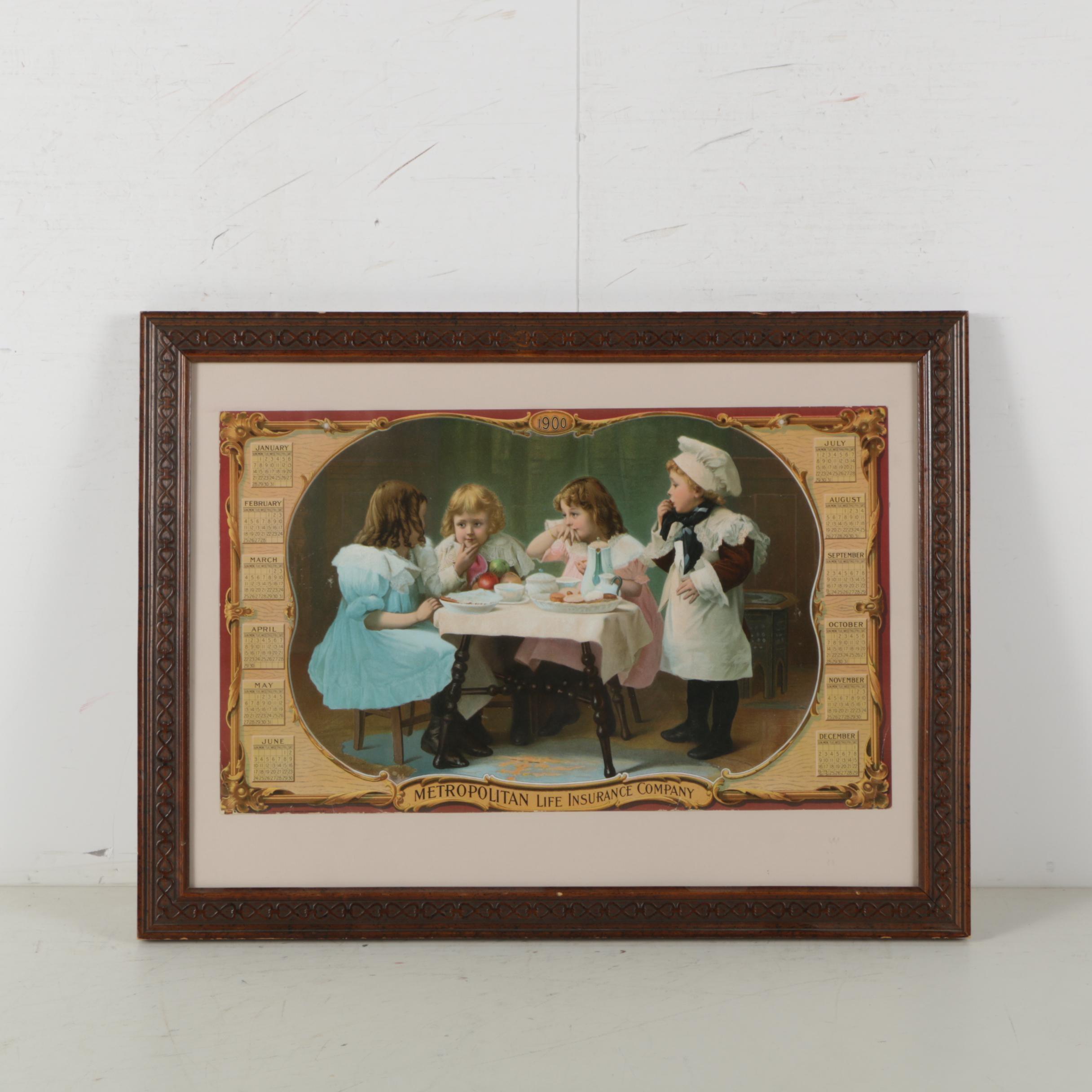Antique Chromolithograph Advertisement for Metropolitan Life Insurance