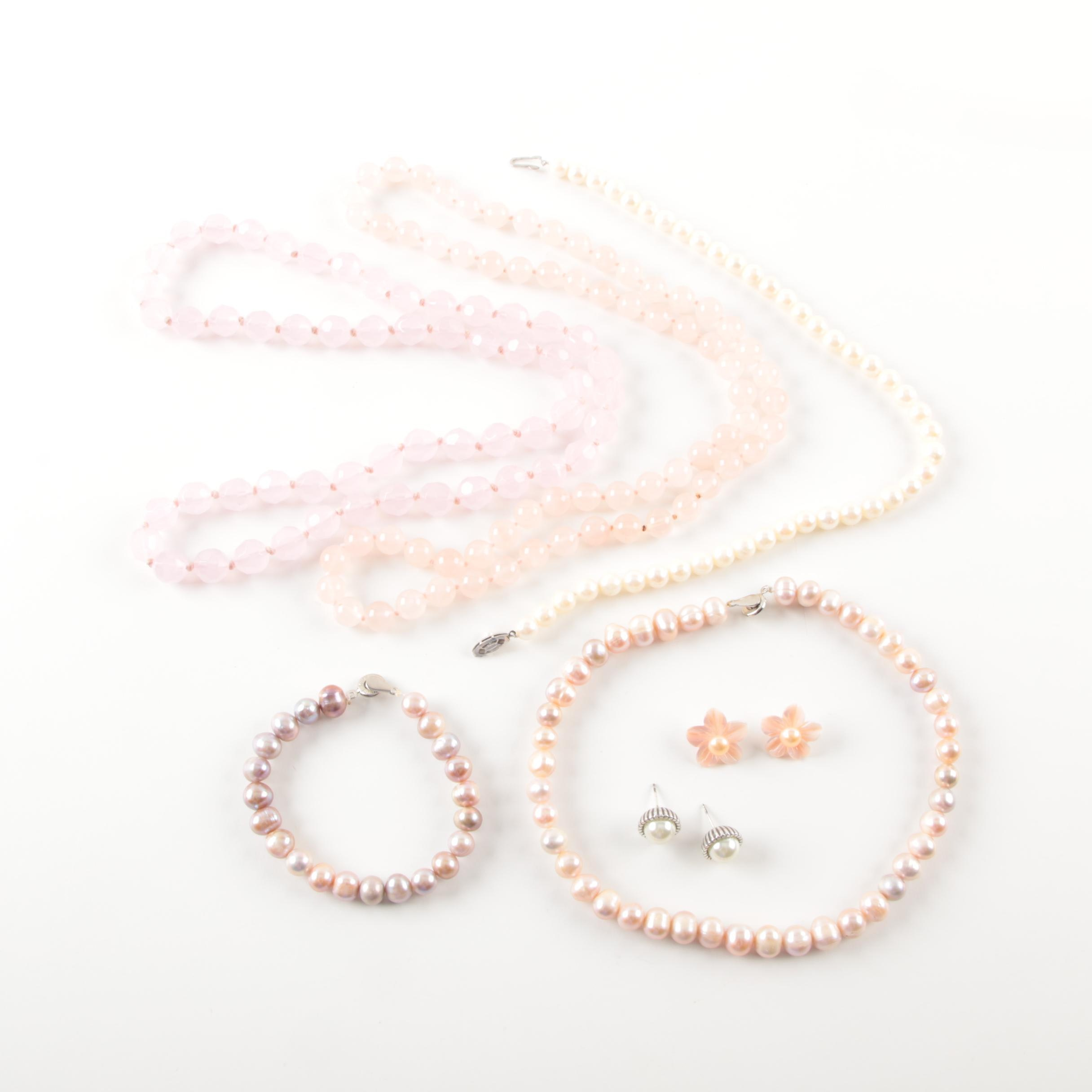 Cultured Pearl Teng Yue Set with Rose Quartz Jewelry and Sterling Silver