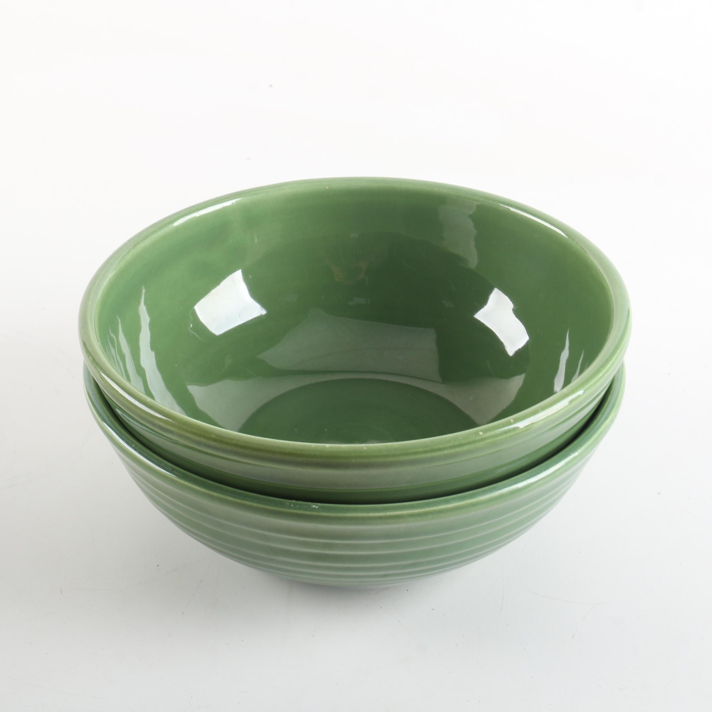 "Bauer Pottery ""Ring Olive Green"" Mixing Bowls"