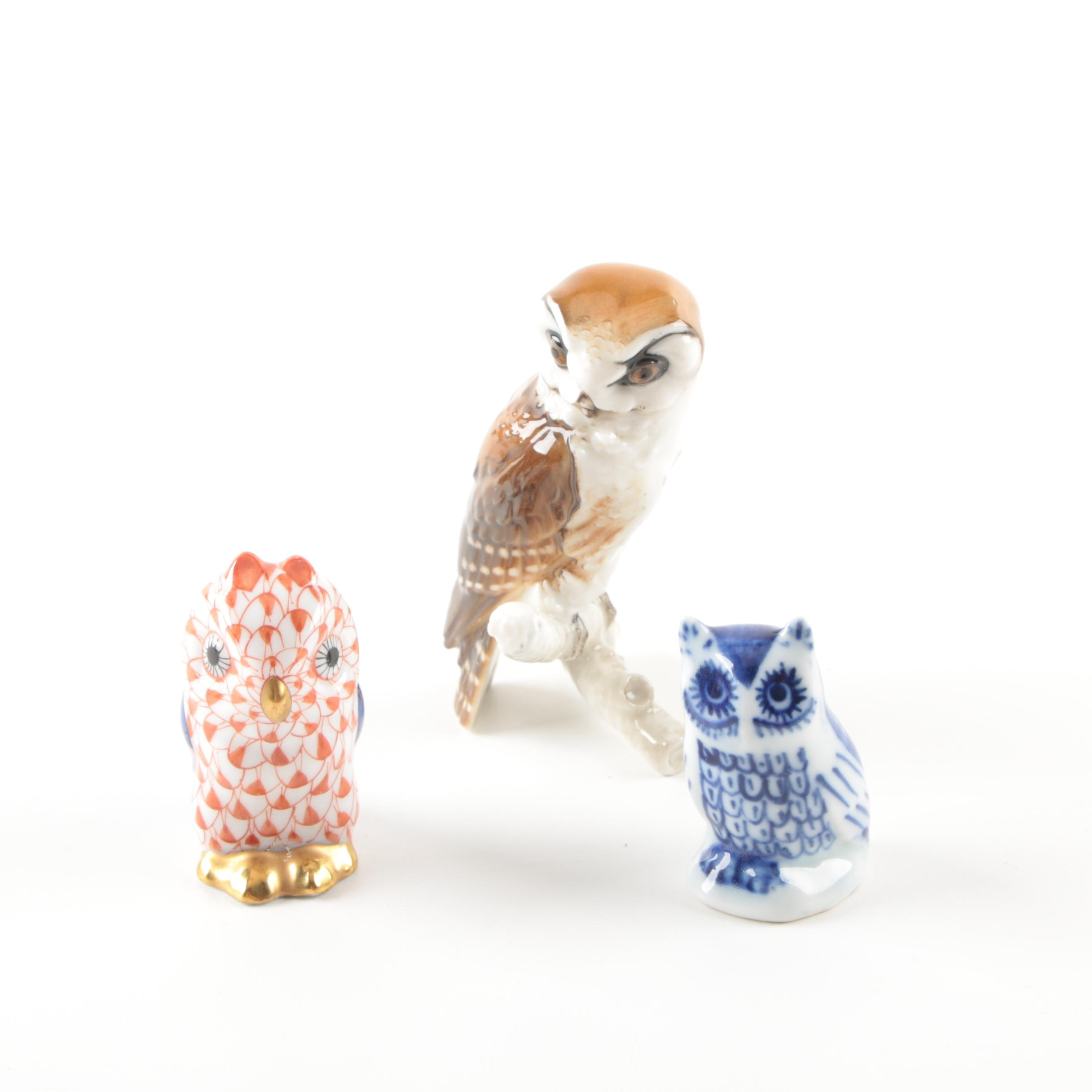 Porcelain Owl Figurines featuring Hutschenreuther and Herend