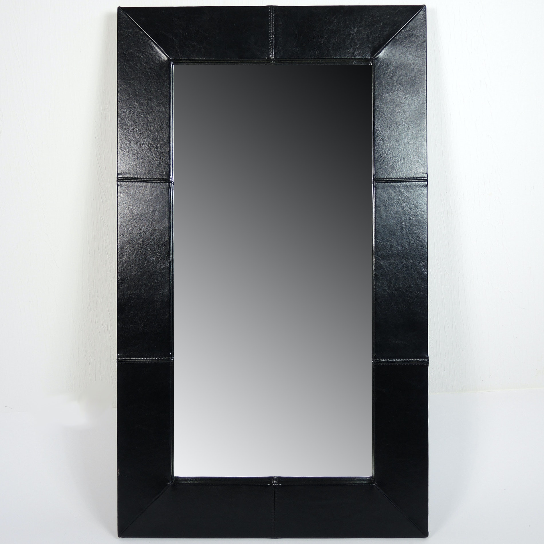 Large Leather Framed Wall Mirror