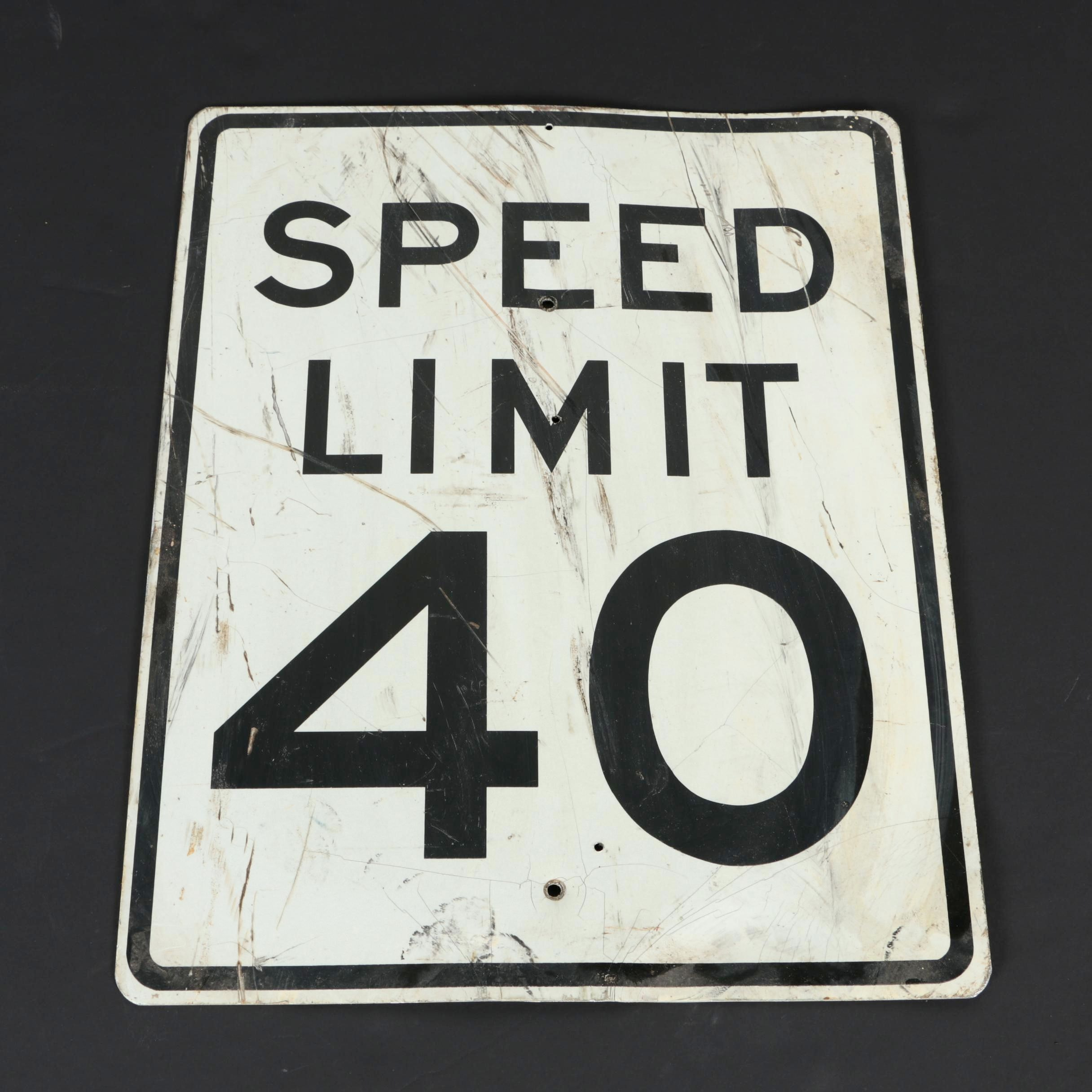 "Speed Limit ""40 MPH"" Road Sign"