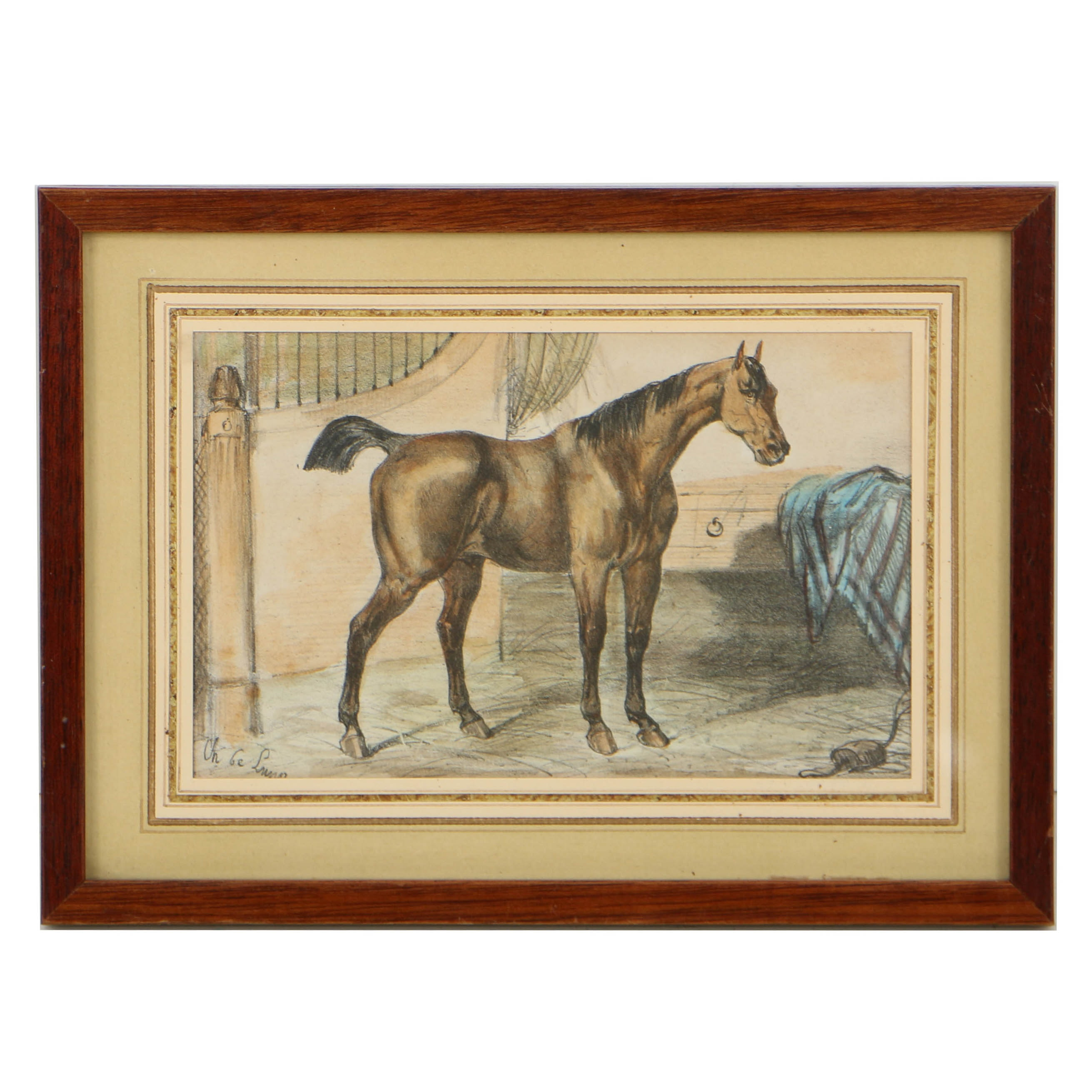 Hand-Colored 19th-Century Lithograph on Paper of Equestrian Composition