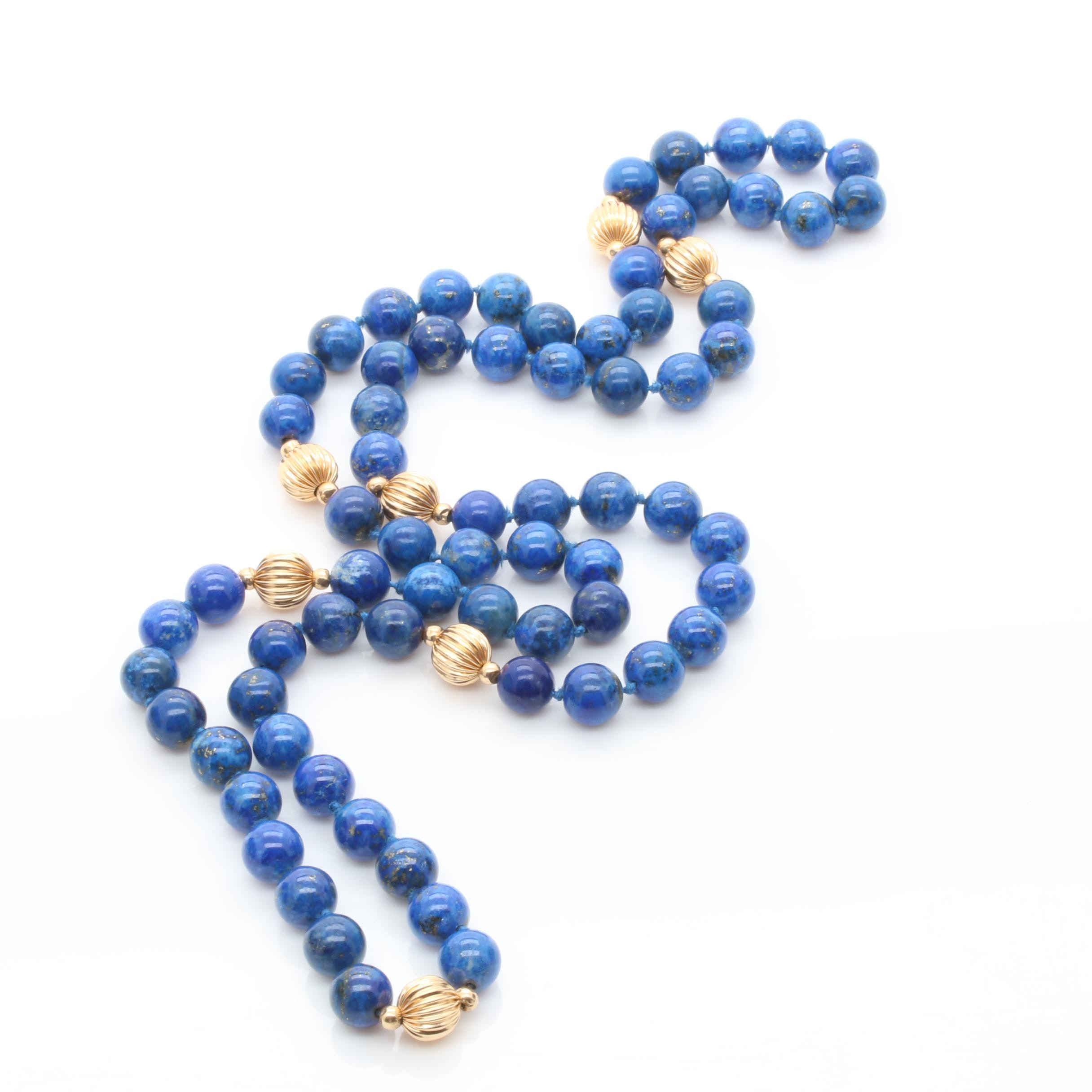 14K Yellow Gold Lapis Lazuli Beaded Necklace