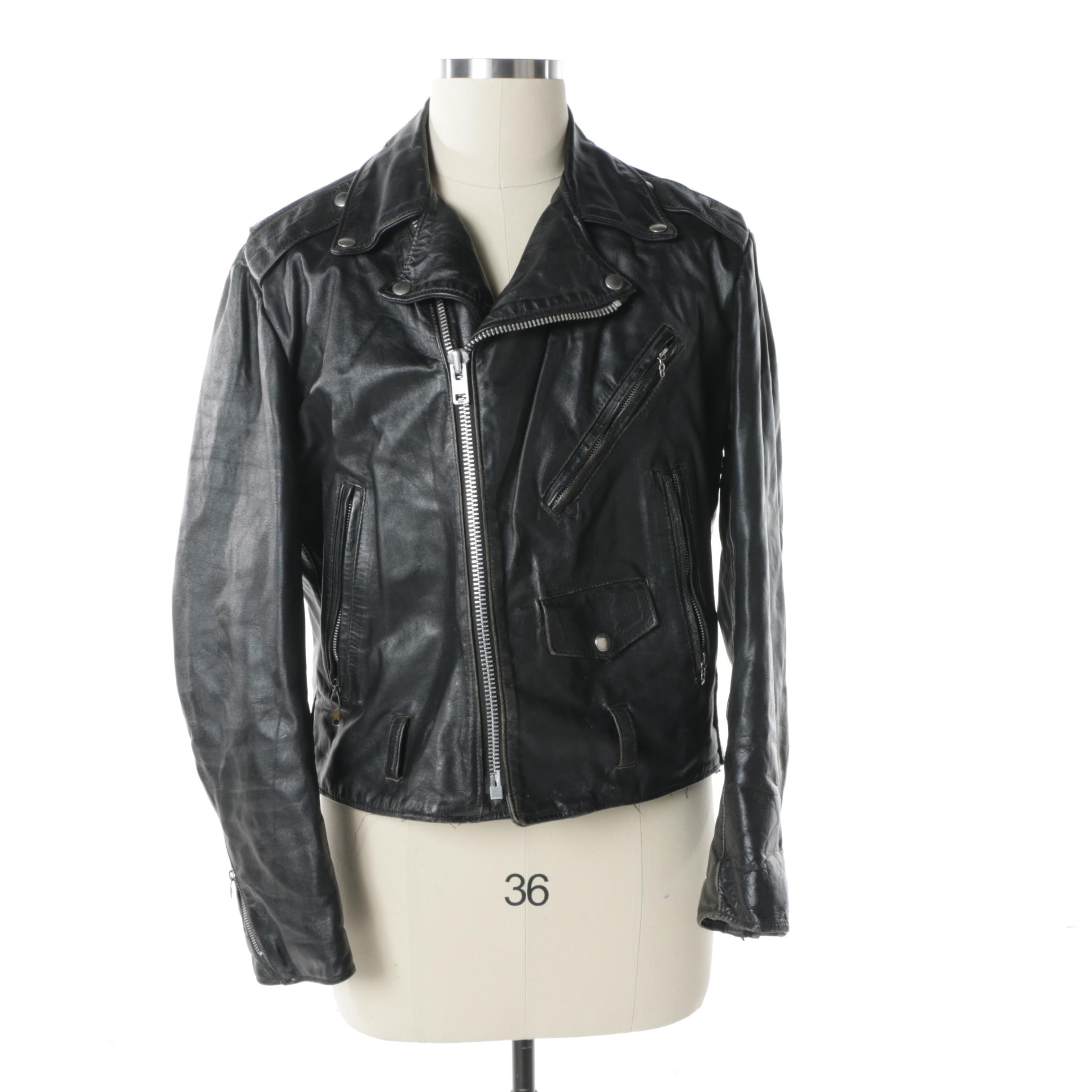 Men's Vintage The Leather Shop from Sears Black Leather Motorcycle Jacket