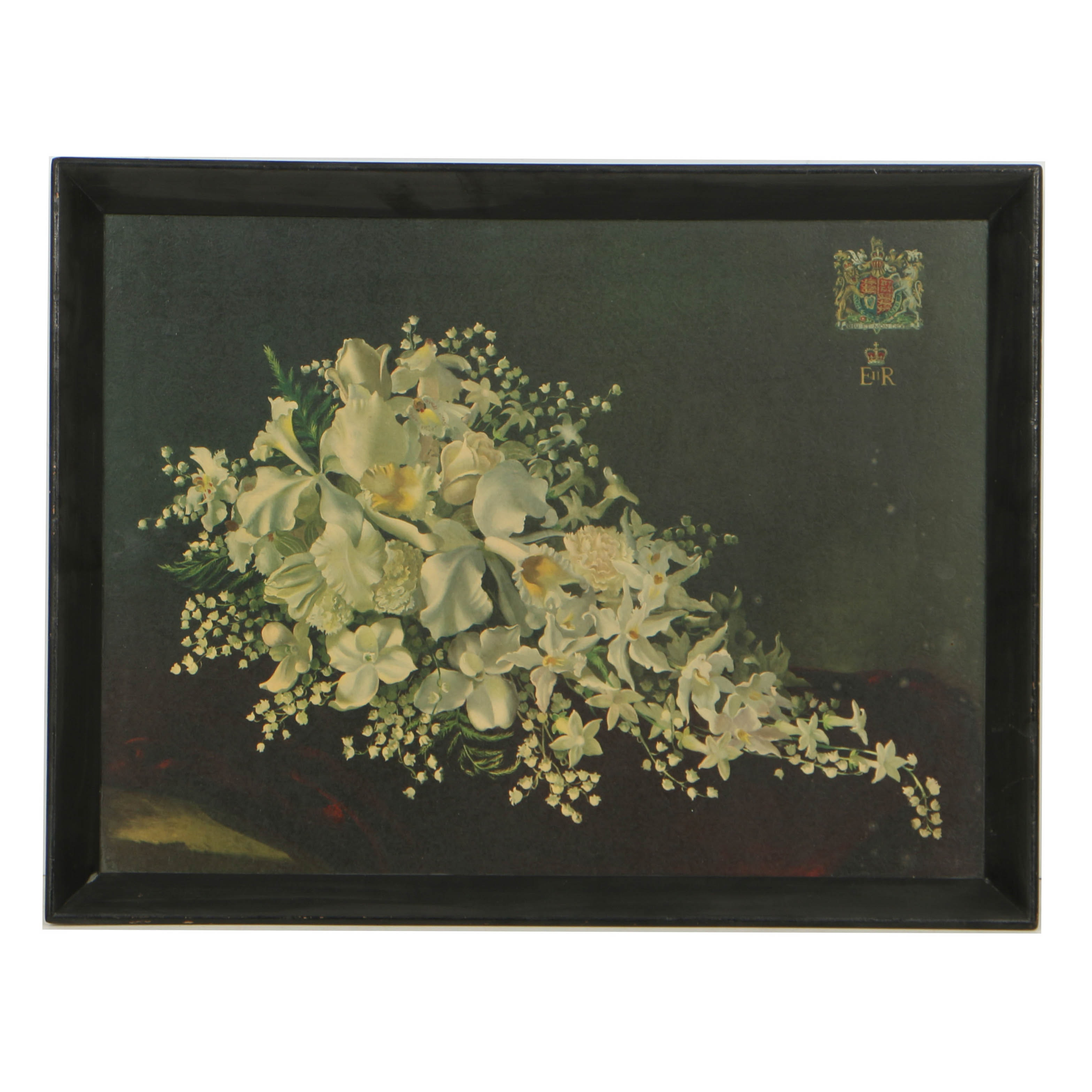 British Chromolithograph on Paper of Queen Elizabeth II Bridal Bouquet