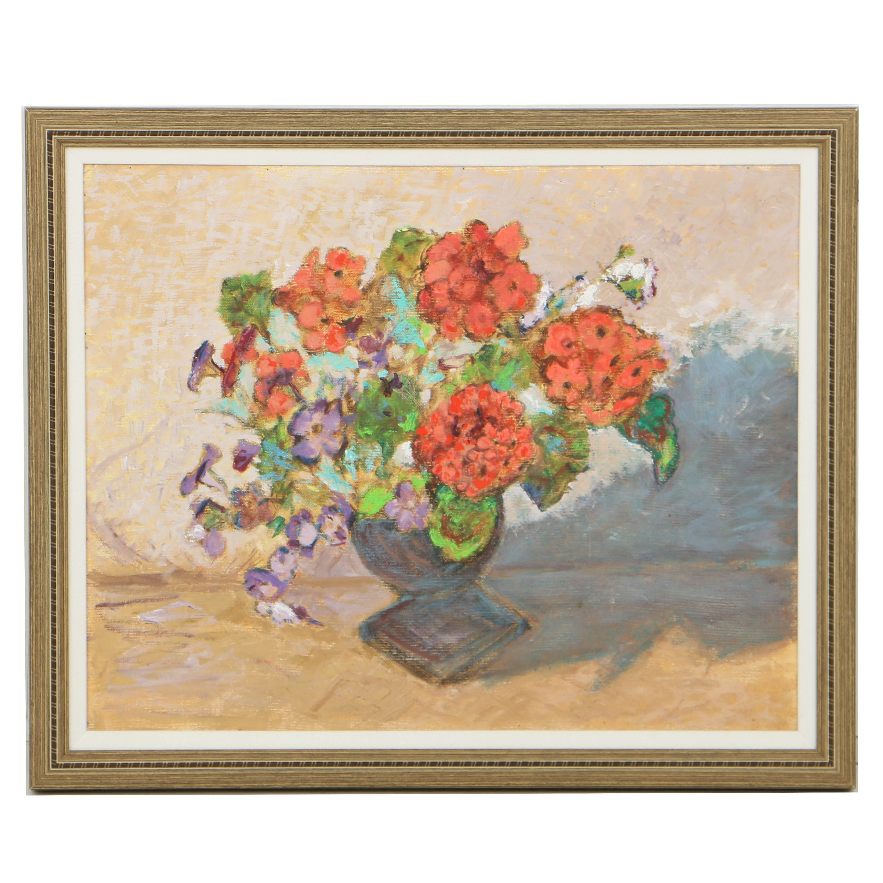 Oil Painting on Canvas Board Floral Still Life