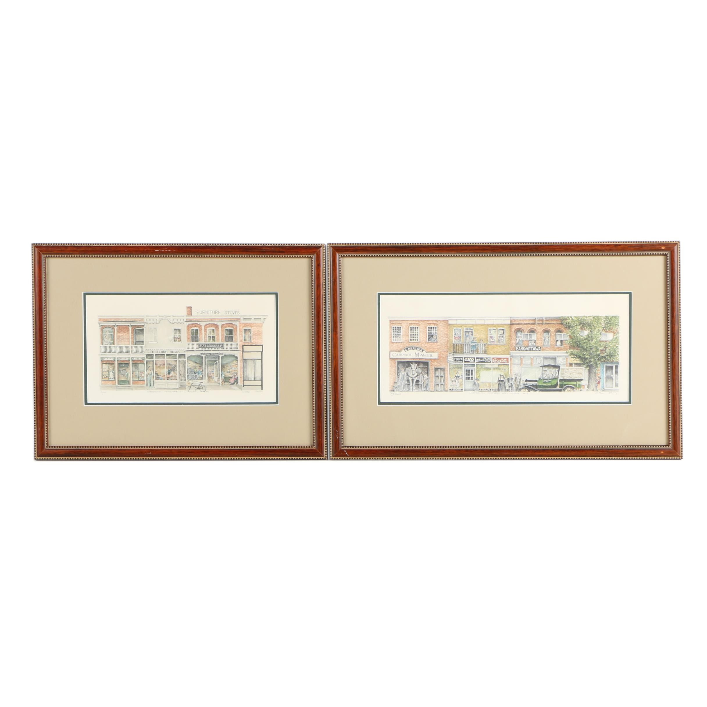 """Limited Edition Offset Lithographs """"Historical Vanleek Hill Mural #1 and #2"""""""
