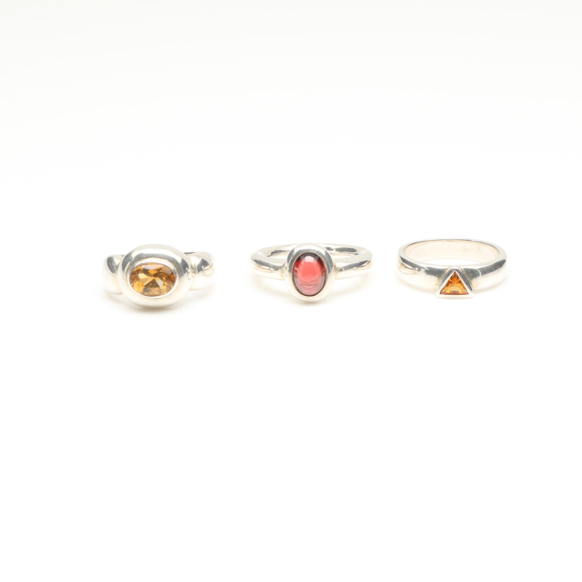 Sterling Silver Citrine and Garnet Ring Assortment