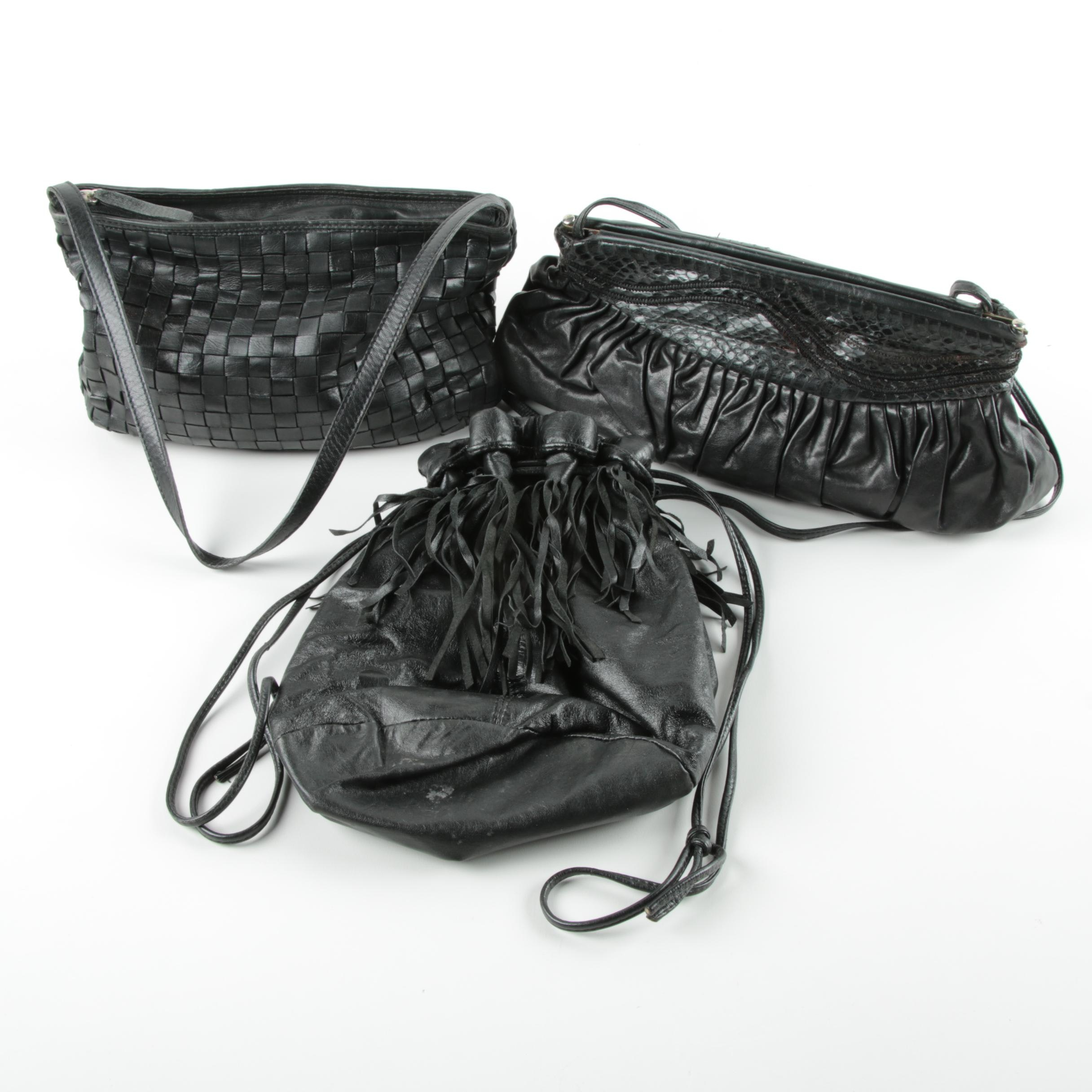Black Leather and Snakeskin Handbags Including Desmo