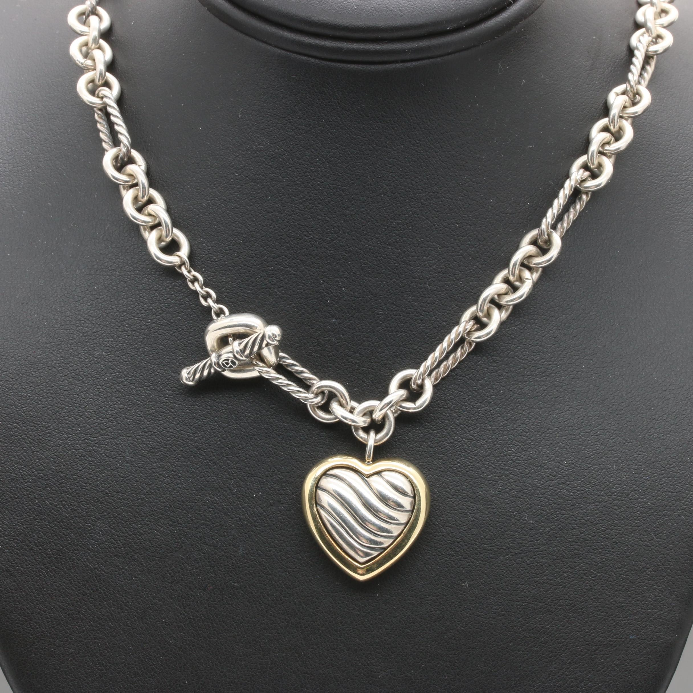 David Yurman Sterling Silver 18K Yellow Gold Cable Heart Necklace
