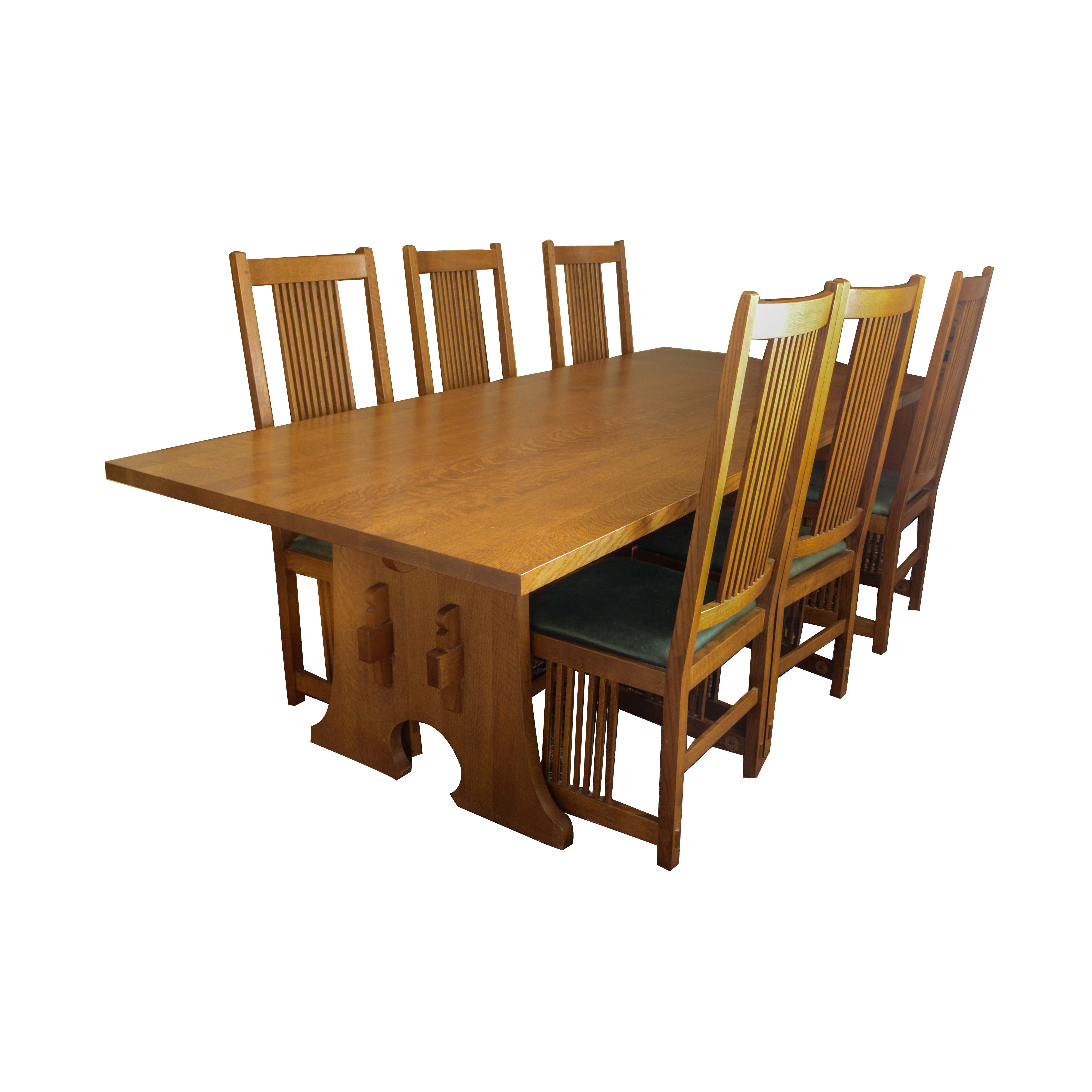 Stickley Mission Style Oak Dining Table and Leather Upholstered Side Chairs