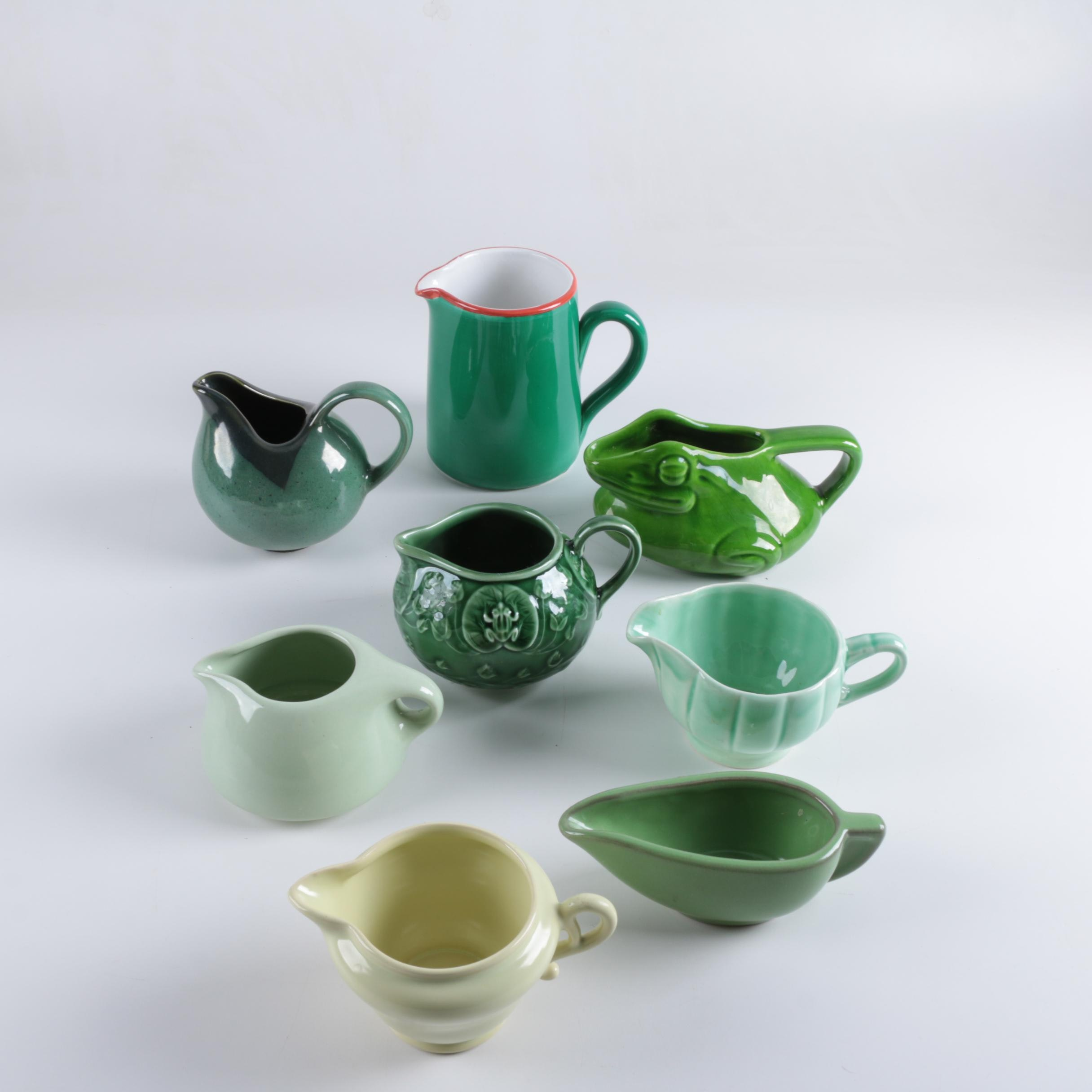 Selection of Green Ceramic Creamers including Hall and Russel Wright