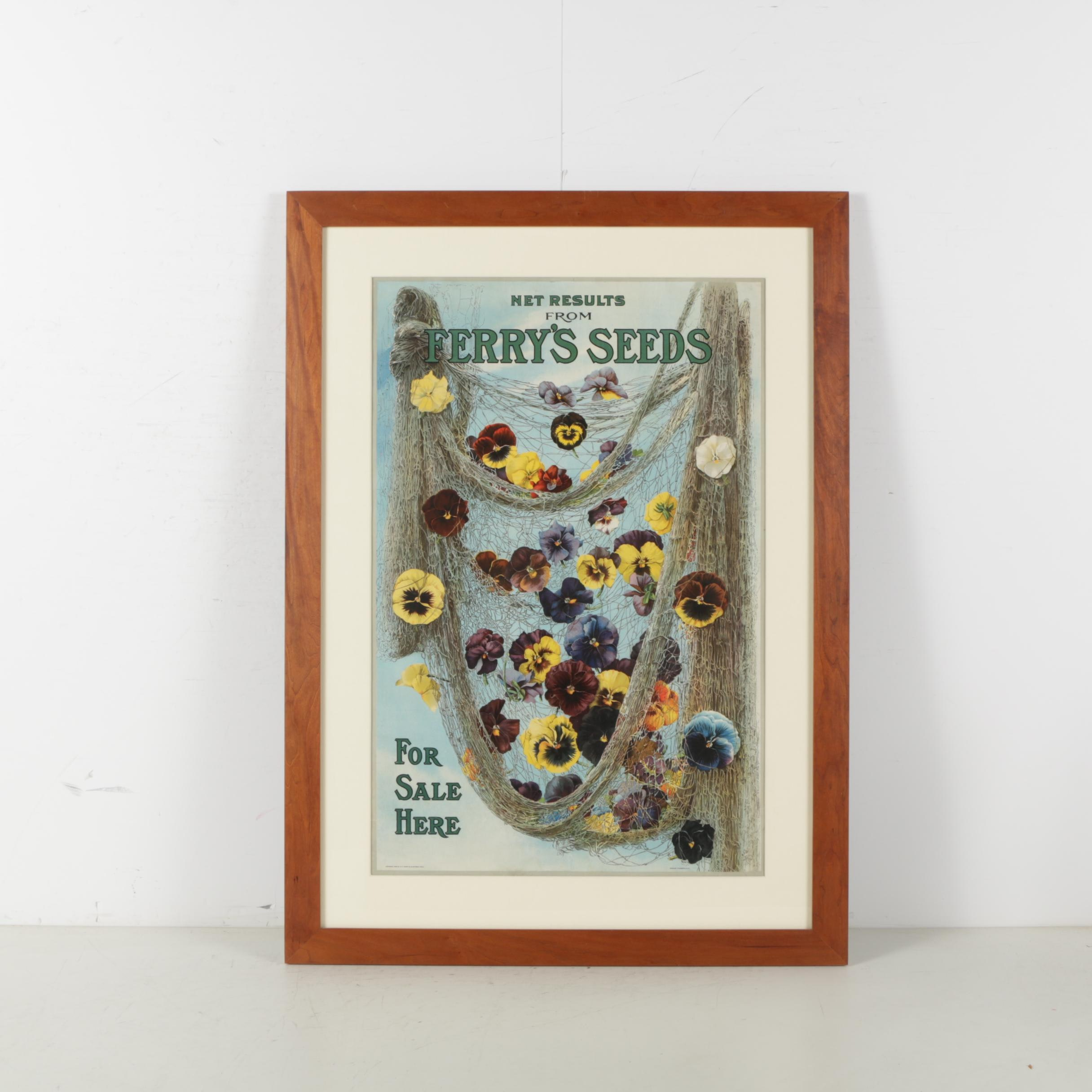Antique Terry's Seeds Color Lithograph Advertisement