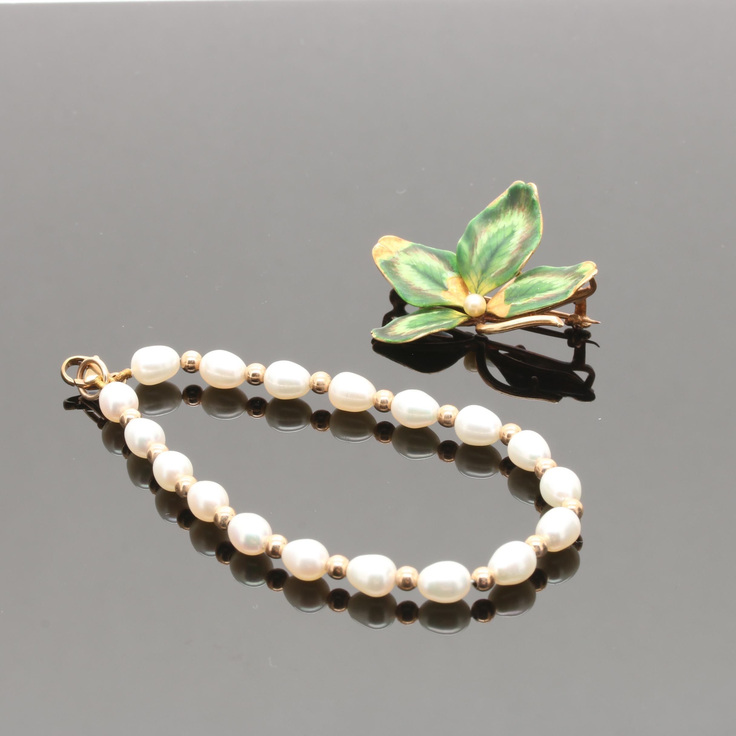 9K Yellow Gold Cultured Pearl Bracelet and 14K Enamel Brooch