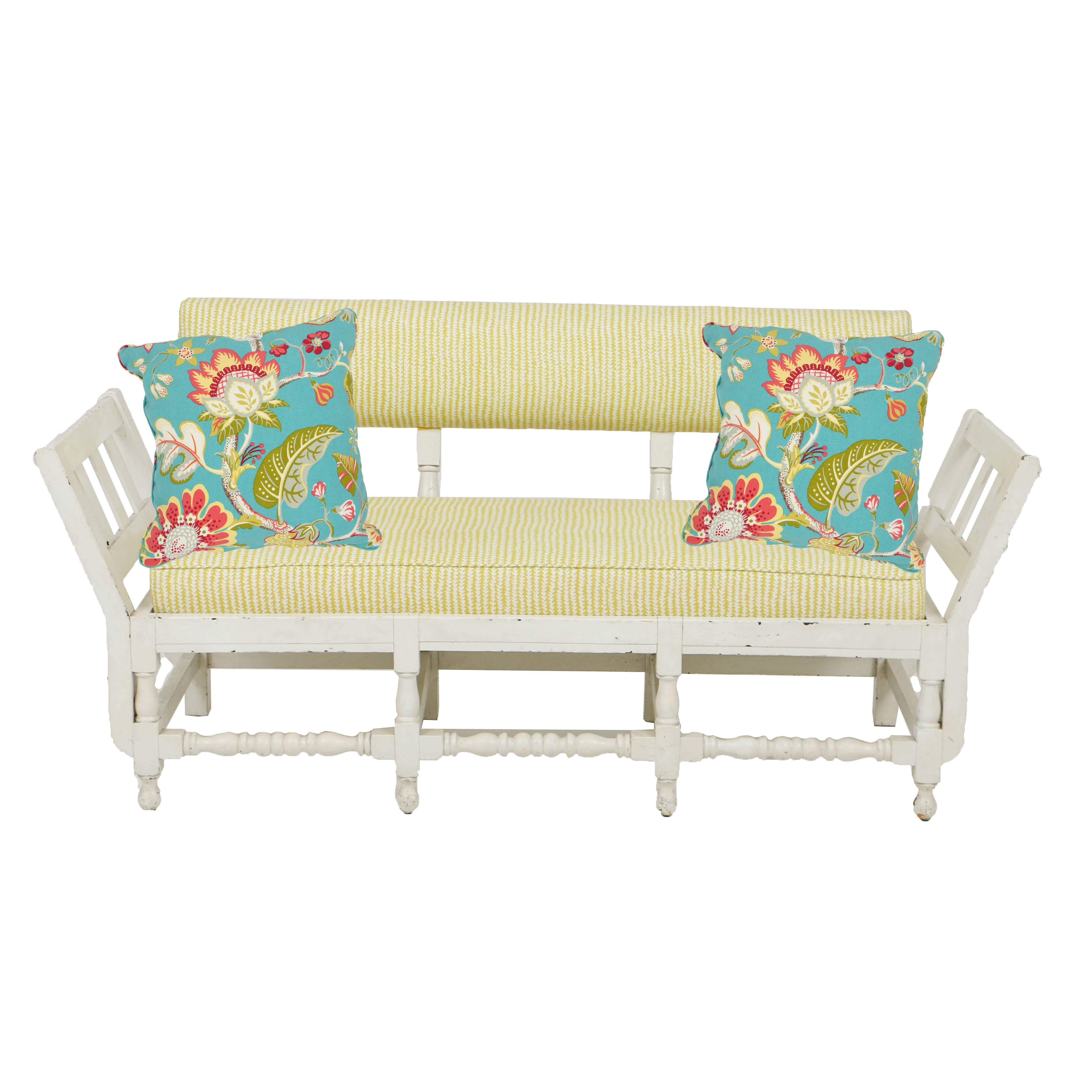 Vintage White-Painted Settee in Custom Upholstery With Floral Accent Pillows