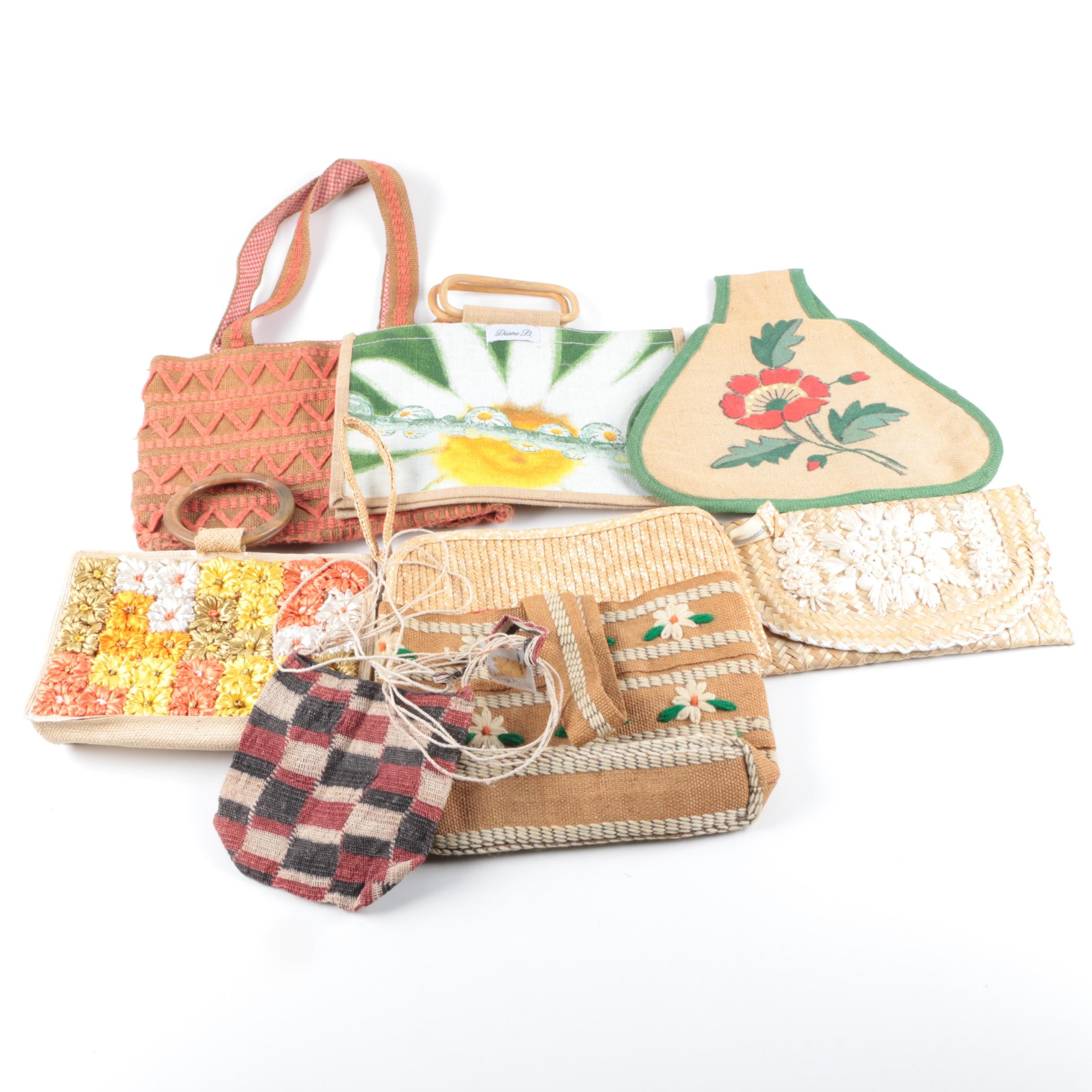 Vintage Straw and Woven Handbags and Totes Including Diane B.
