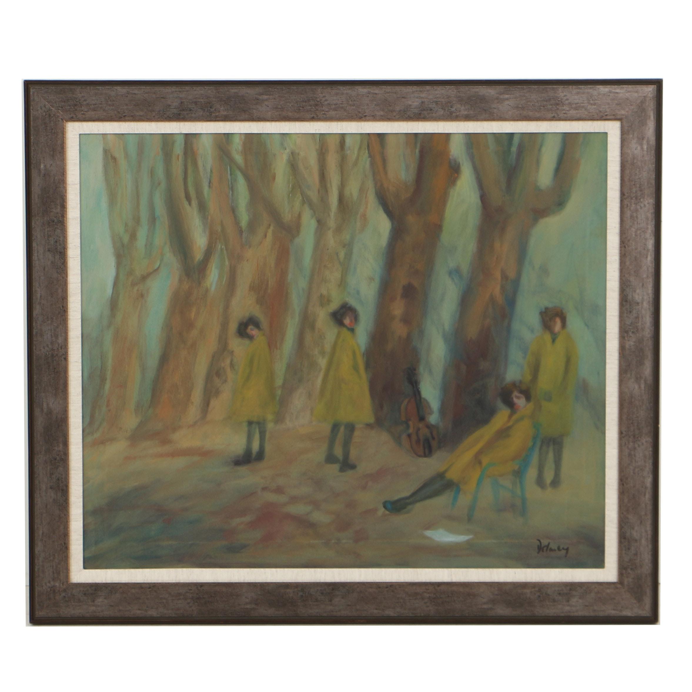 Jack Delaney Oil Painting on Canvas Figural Landscape