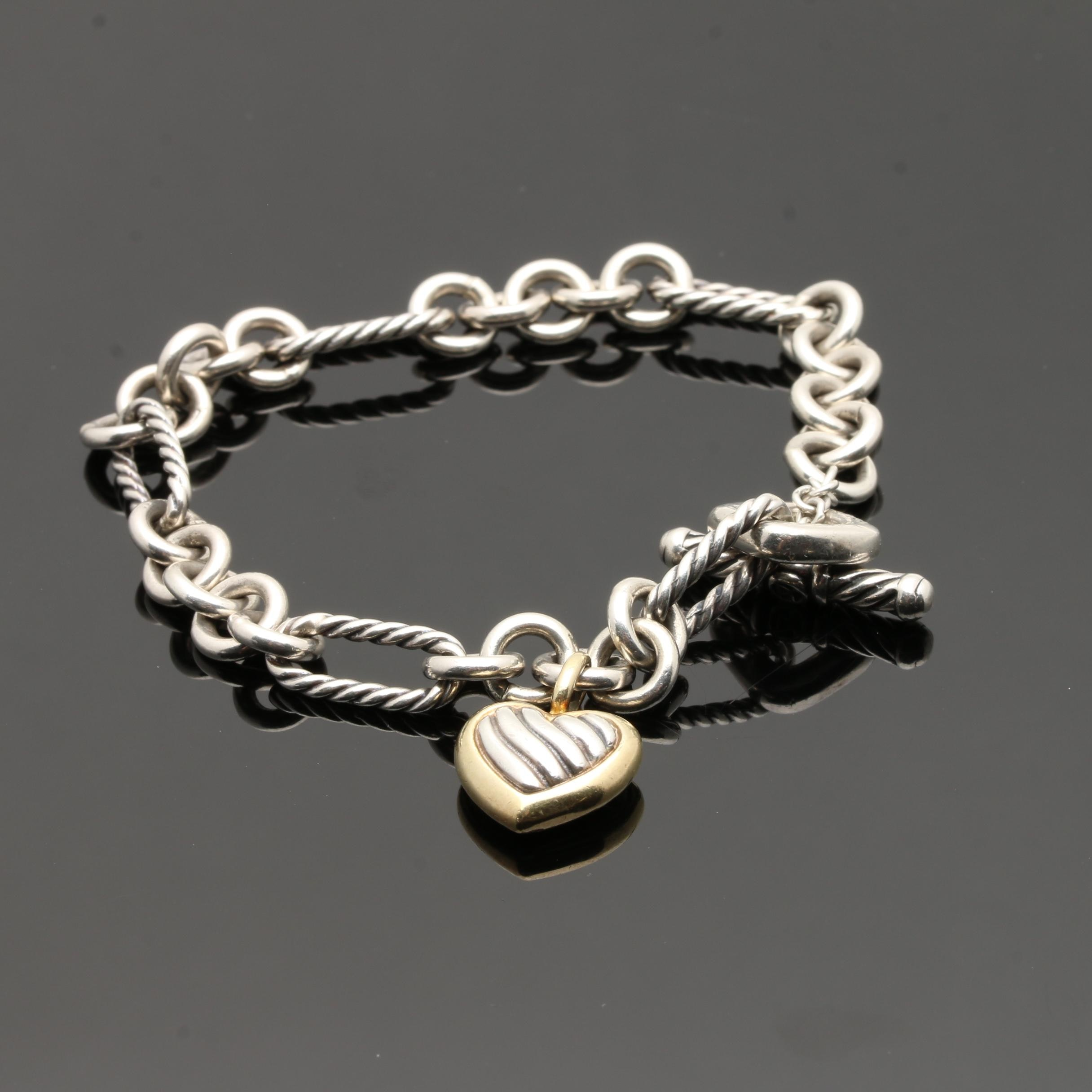 David Yurman Sterling Silver and 18K Yellow Gold Charm Bracelet