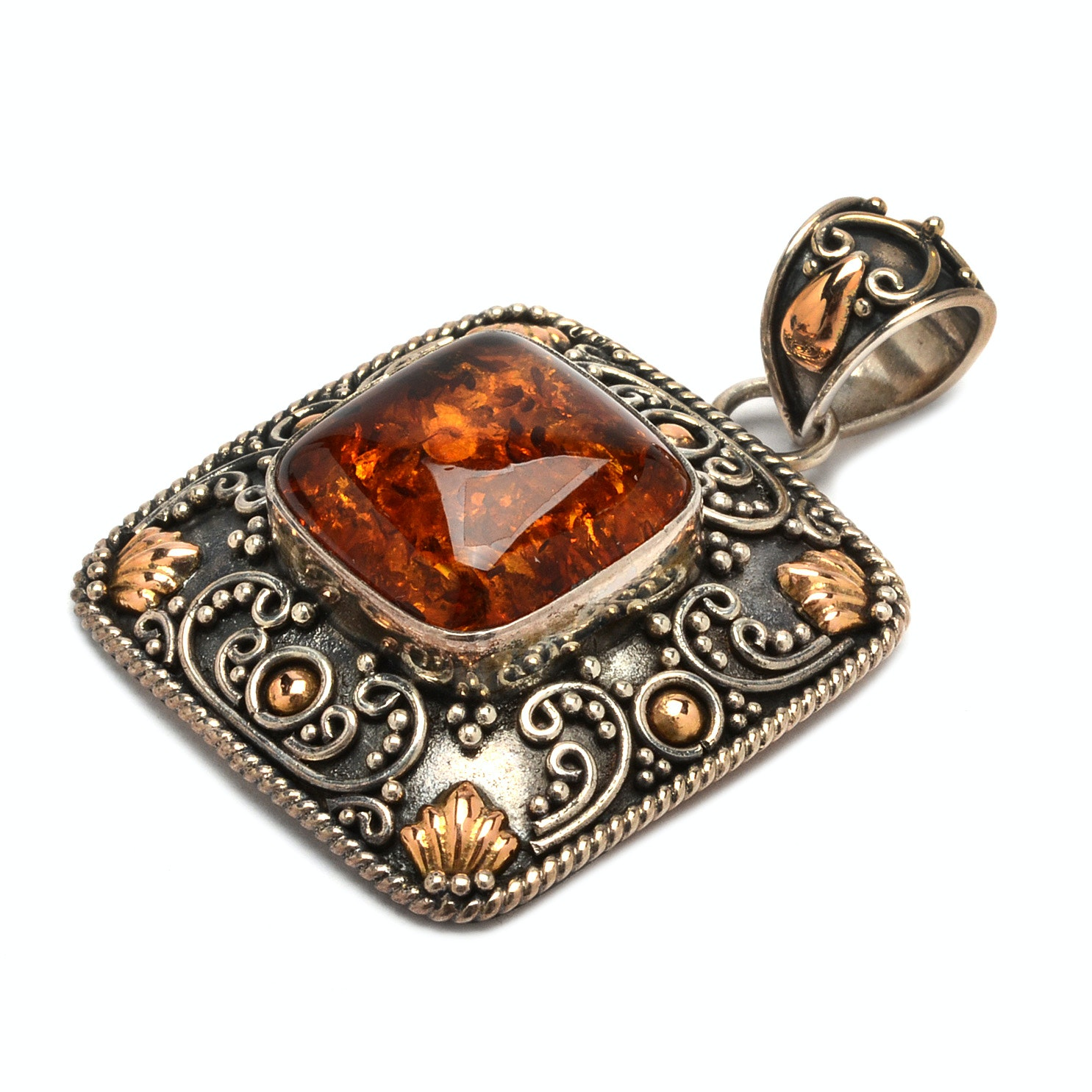 Suarti of Bali Sterling Silver Amber Pendant With 18K Gold Accents