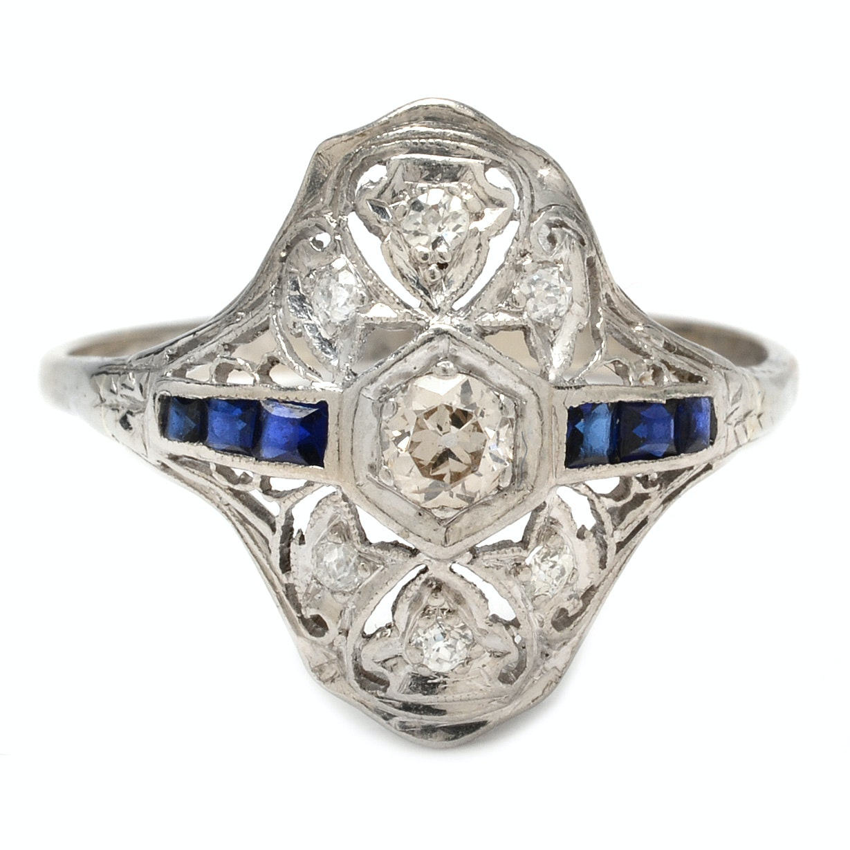 Late Edwardian Mixed White Gold and Platinum Diamond and Sapphire Dinner Ring