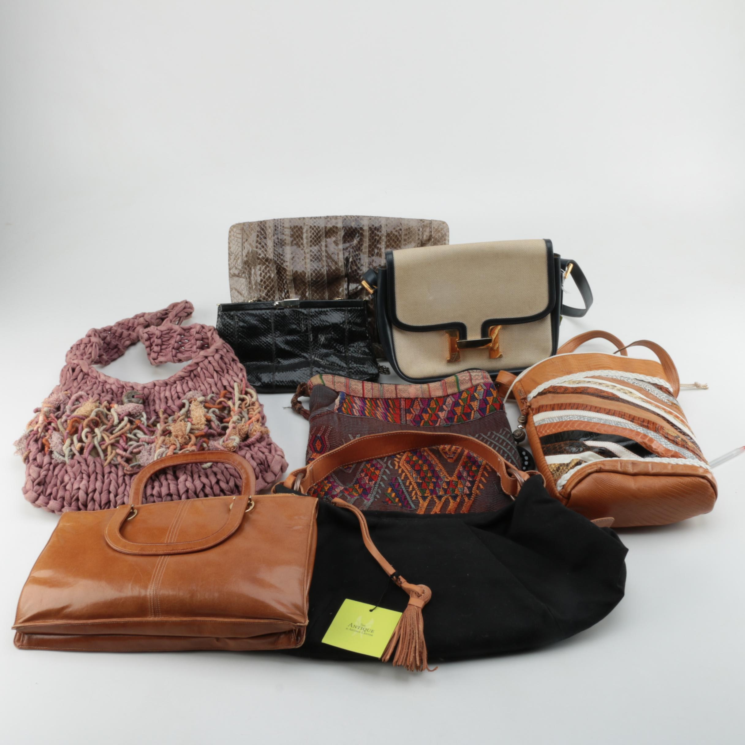 Vintage and Modern Leather and Woven Handbags Including Helen Kaminski