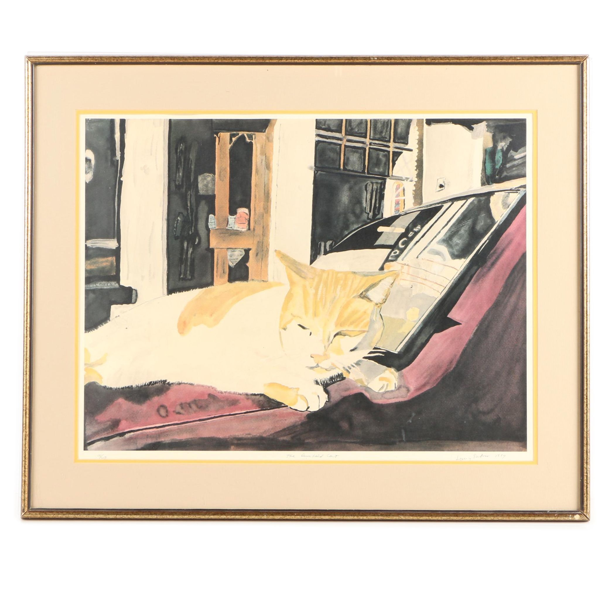 """Larry Sakow 1984 Limited Edition Offset Lithograph """"The Dunkeld Cat"""""""