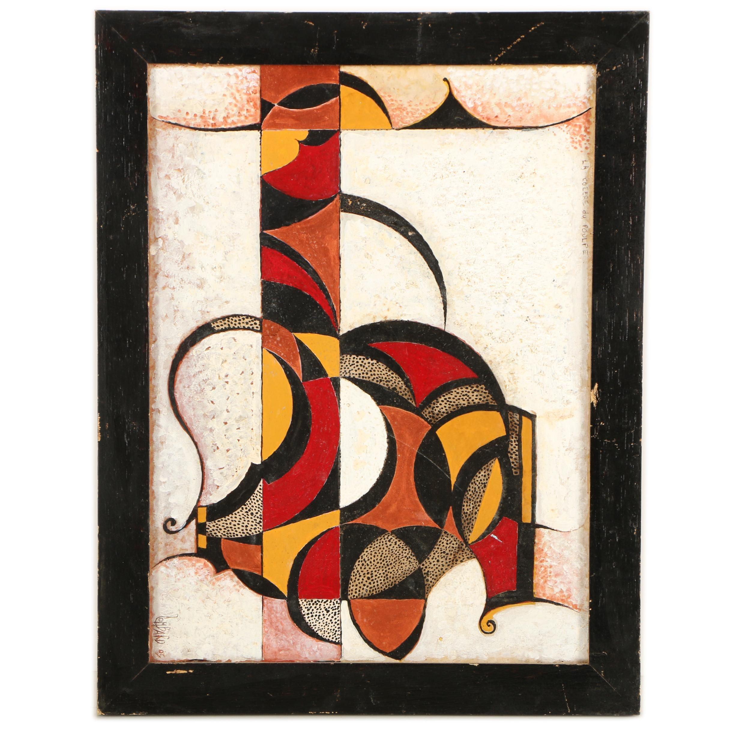 """Rene Lombard Oil Painting """"La Colere du Poulpe"""""""