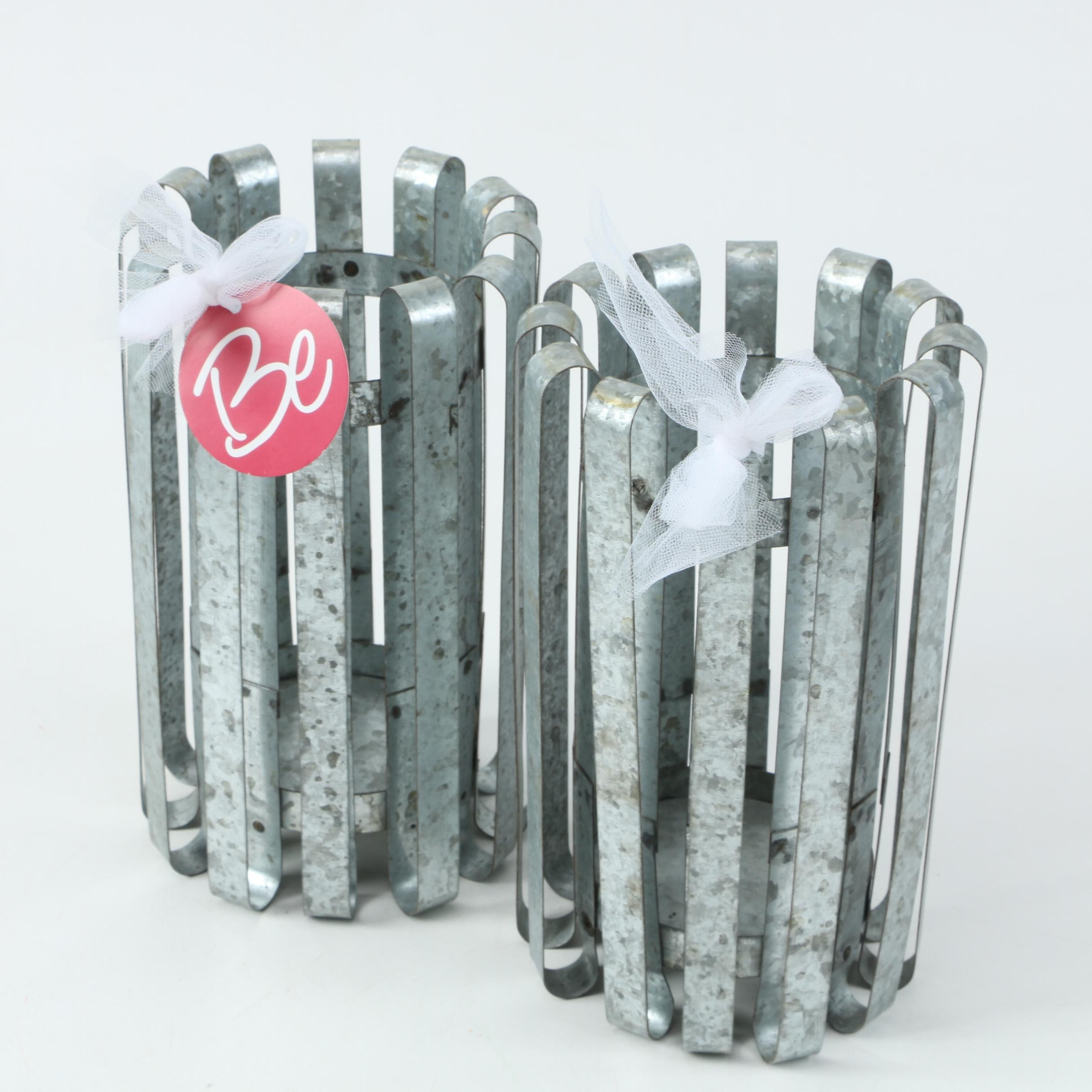 Pair of Galvanized Candle Holders