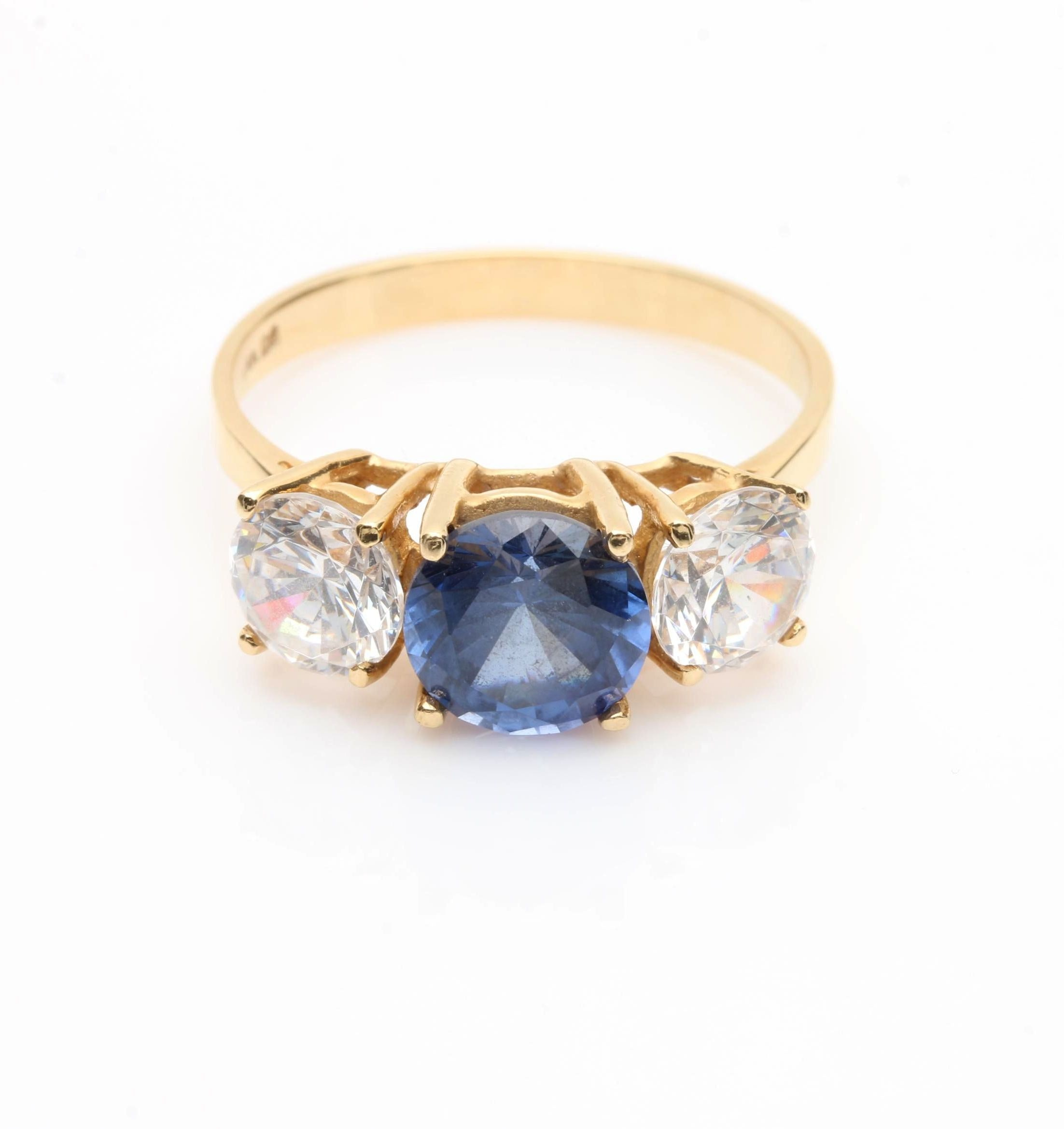 14K Yellow Gold Synthetic Sapphire and Cubic Zirconia Ring