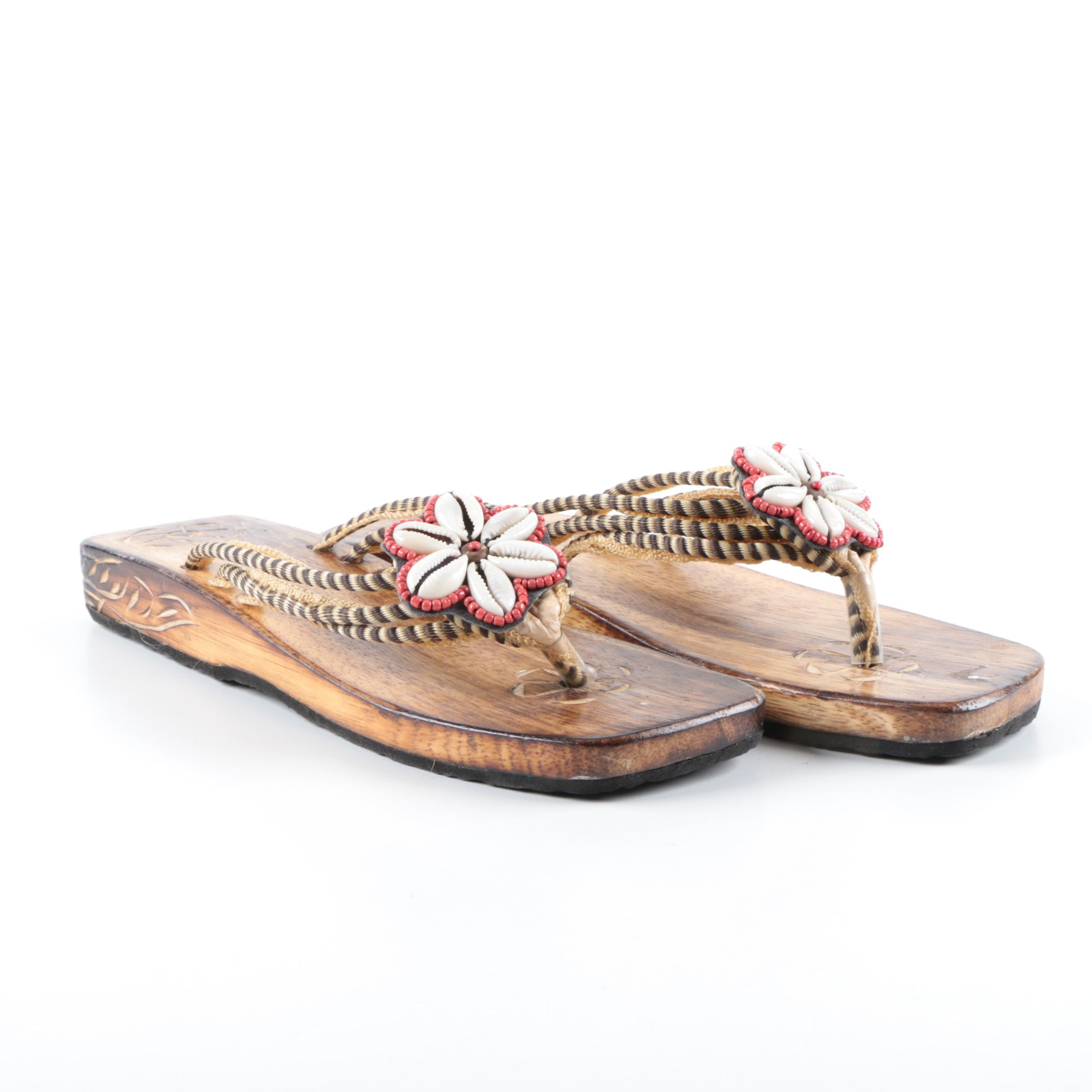 Shell Beaded Wooden Sandals