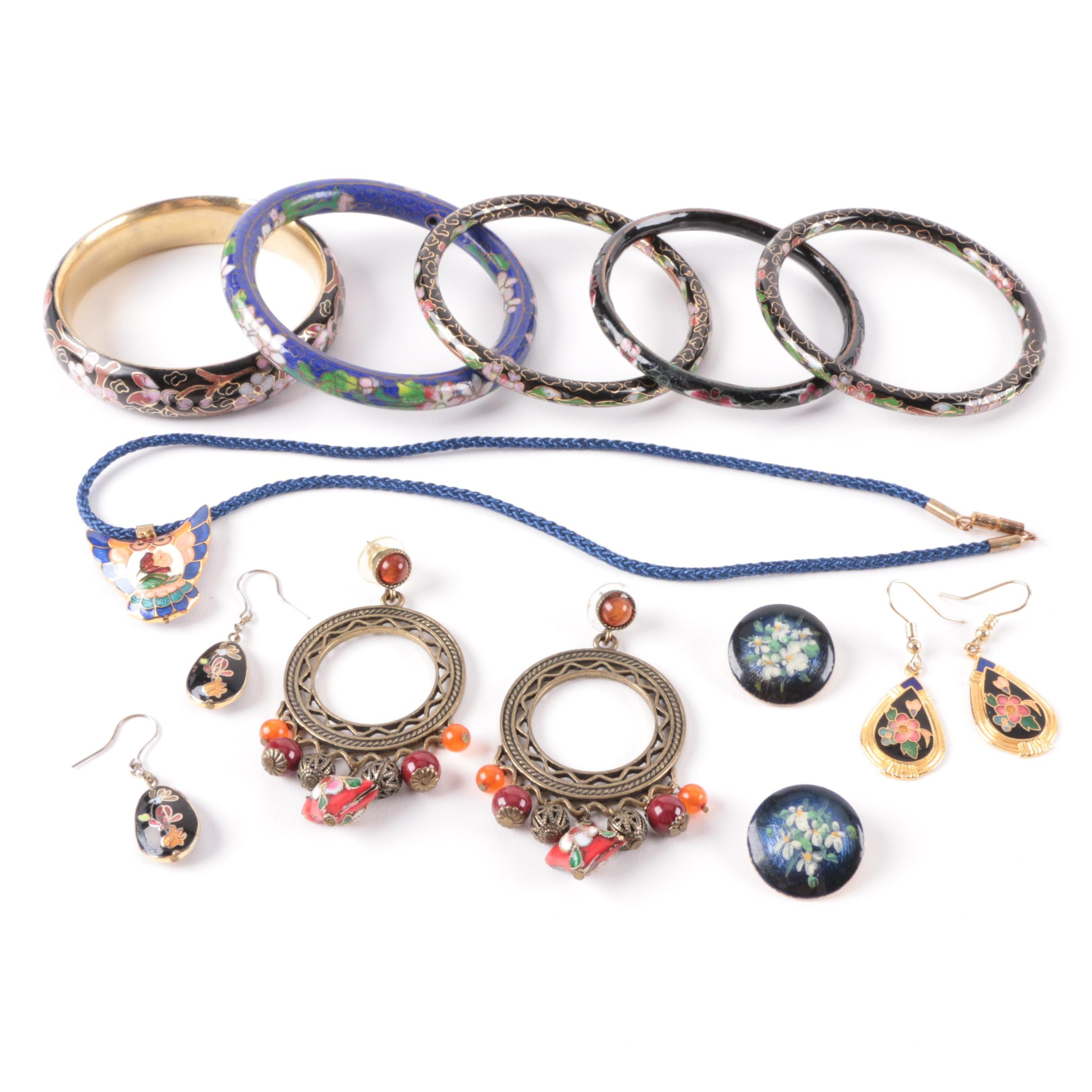 Cloissoné Enamel Bracelets with Enamel Necklace and Earrings
