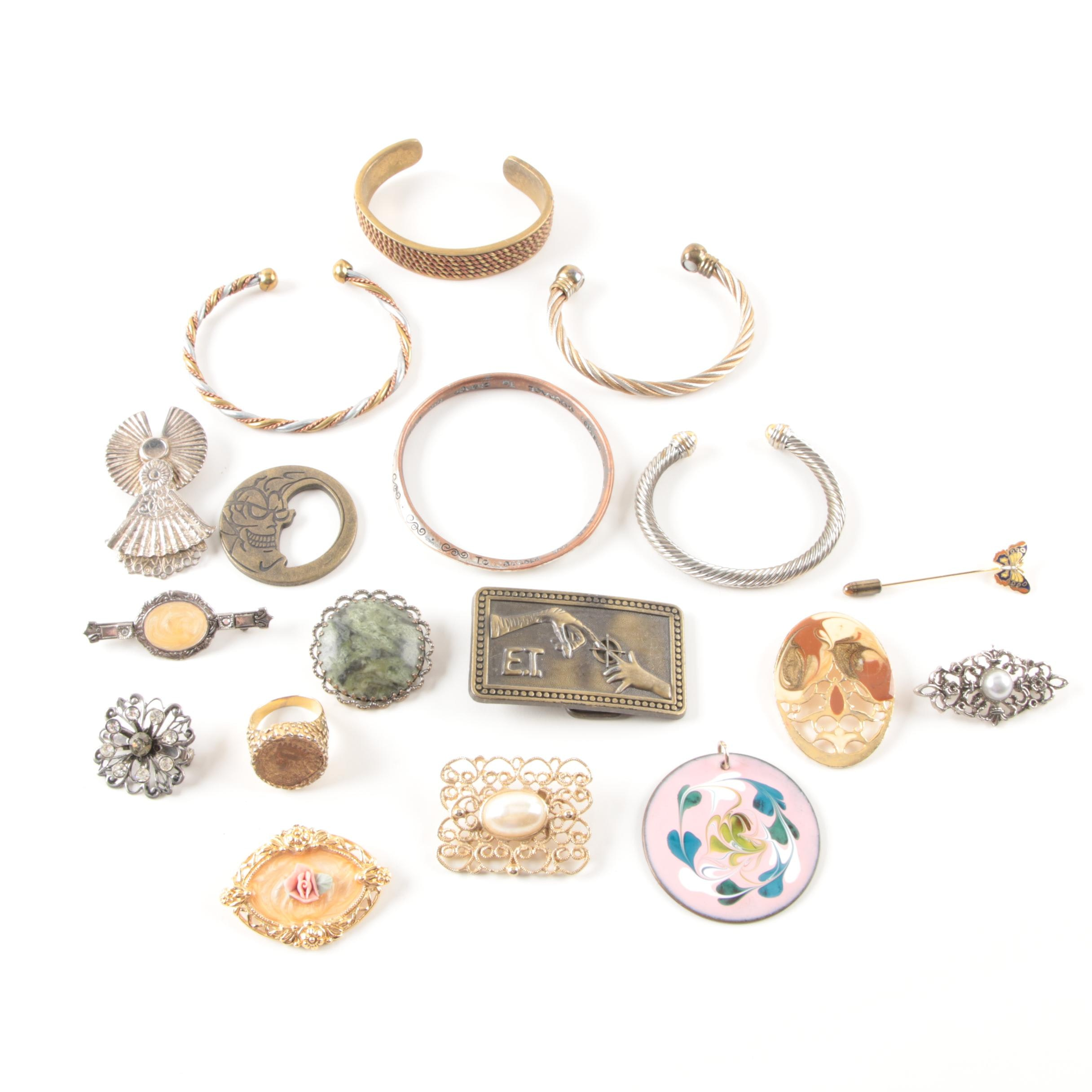 Costume Jewelry Selection Including Serpentine and Imitation Pearl
