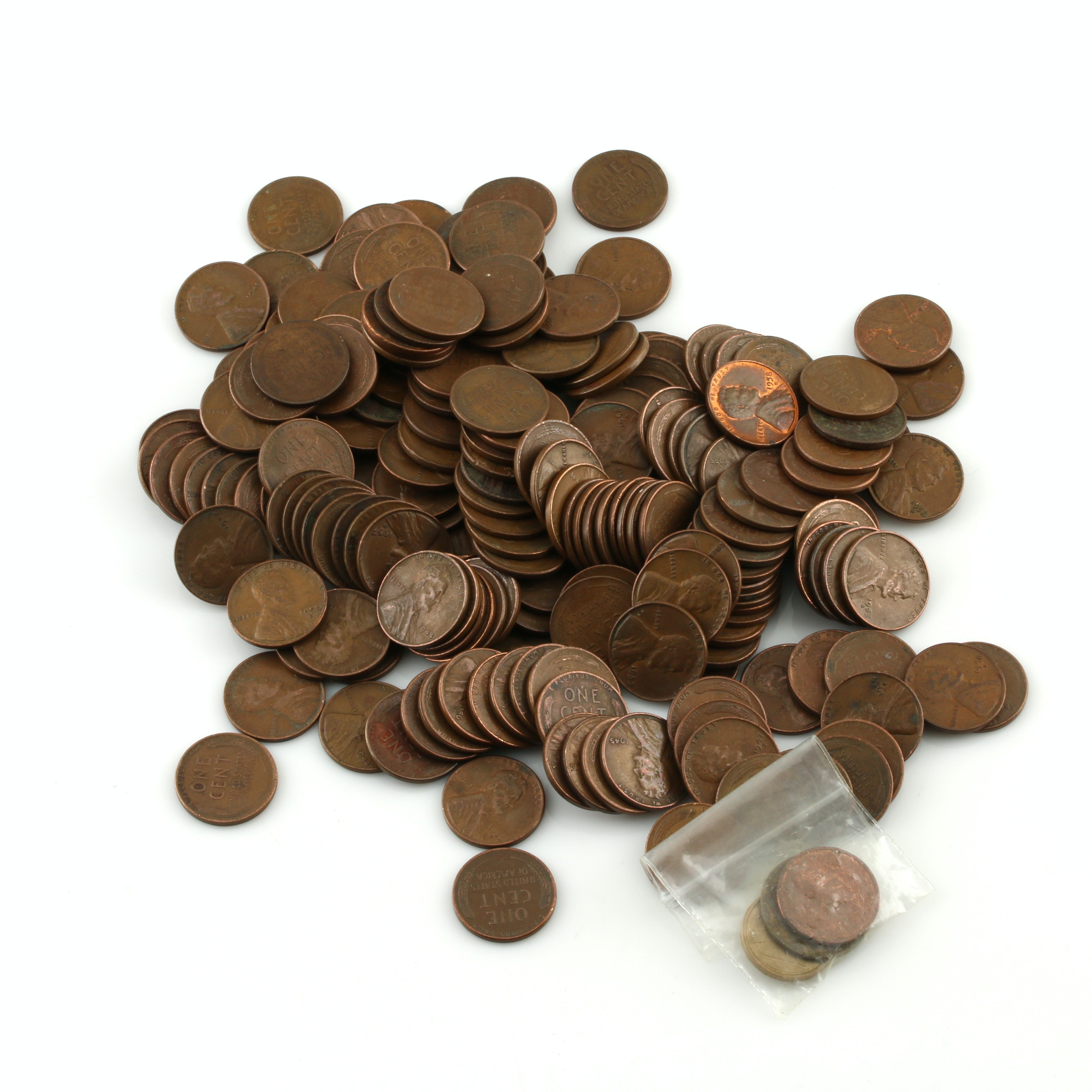 Group of 195 Lincoln Wheat Cents and Three Foreign Coins