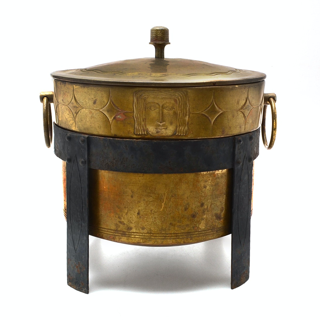 English Art Deco Brass and Iron Cauldron with Stand