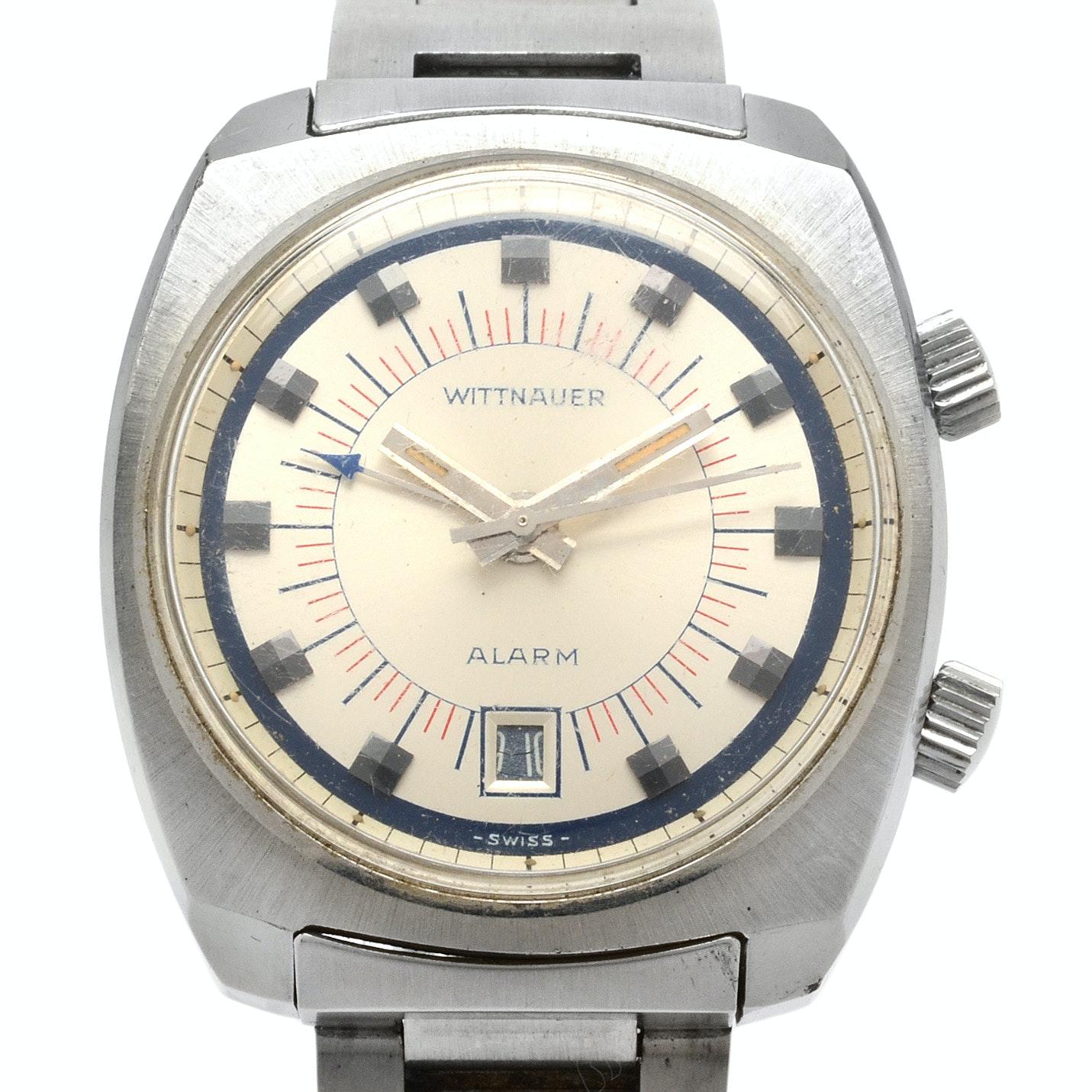vintage wittnauer alarm date steel manual winding wristwatch ebth rh ebth com Old Wittnauer Watch Values Old Wittnauer Watch Values