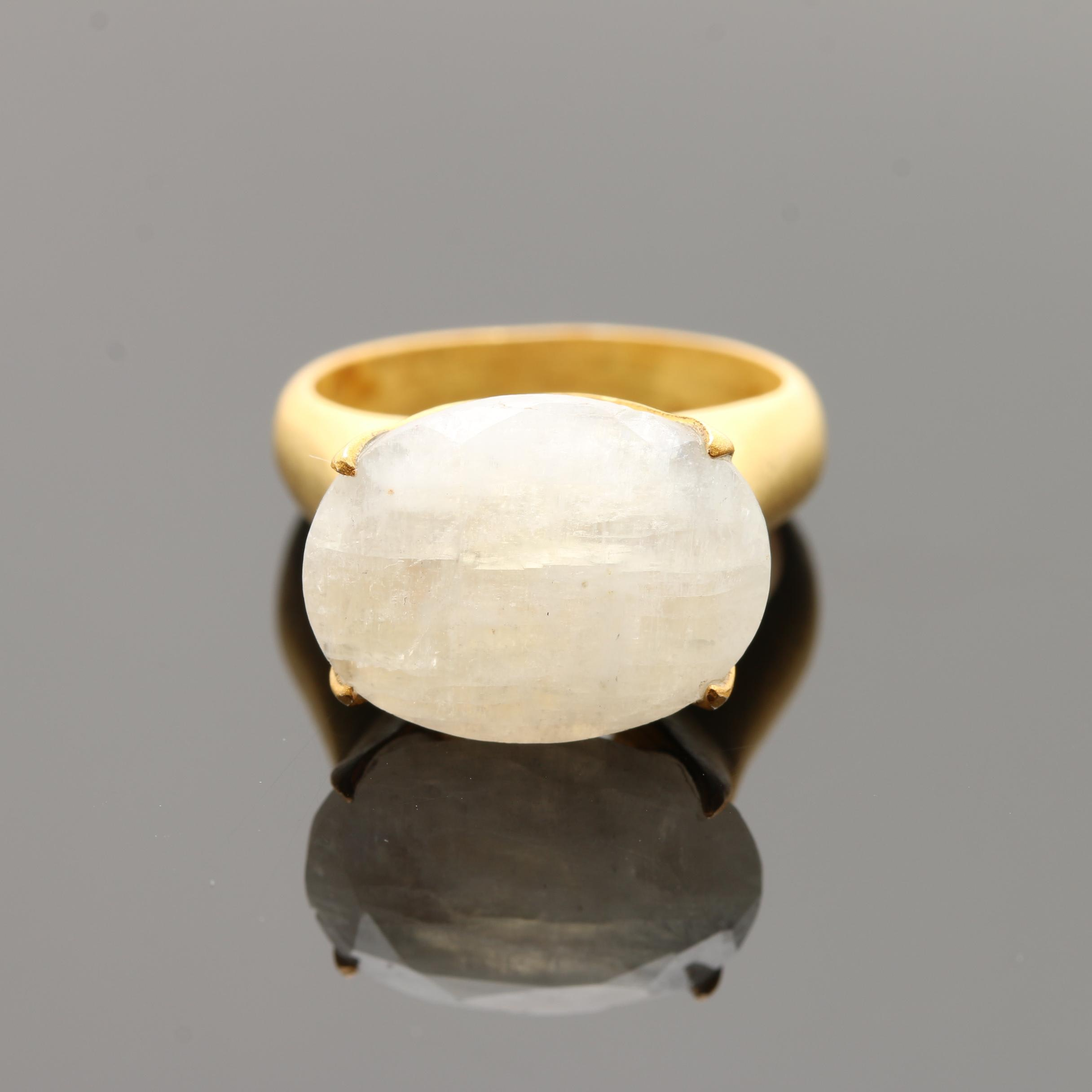 Gold Wash on Sterling Silver Oval Rainbow Moonstone Ring