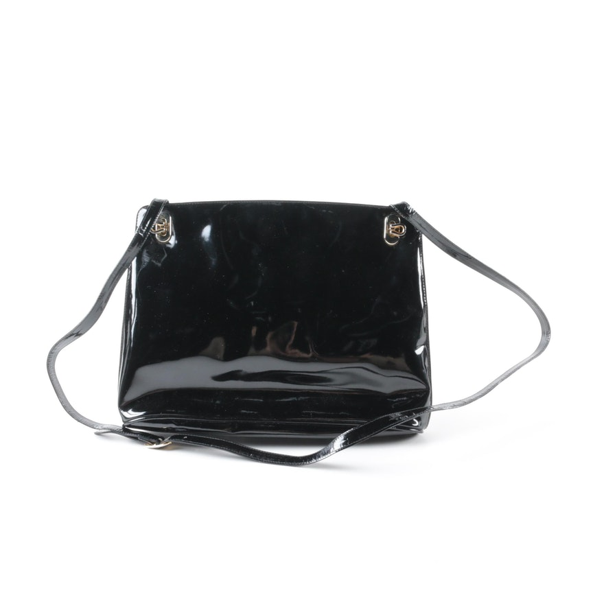 c41efb0759 Vintage Salvatore Ferragamo Black Patent Leather Shoulder Bag   EBTH