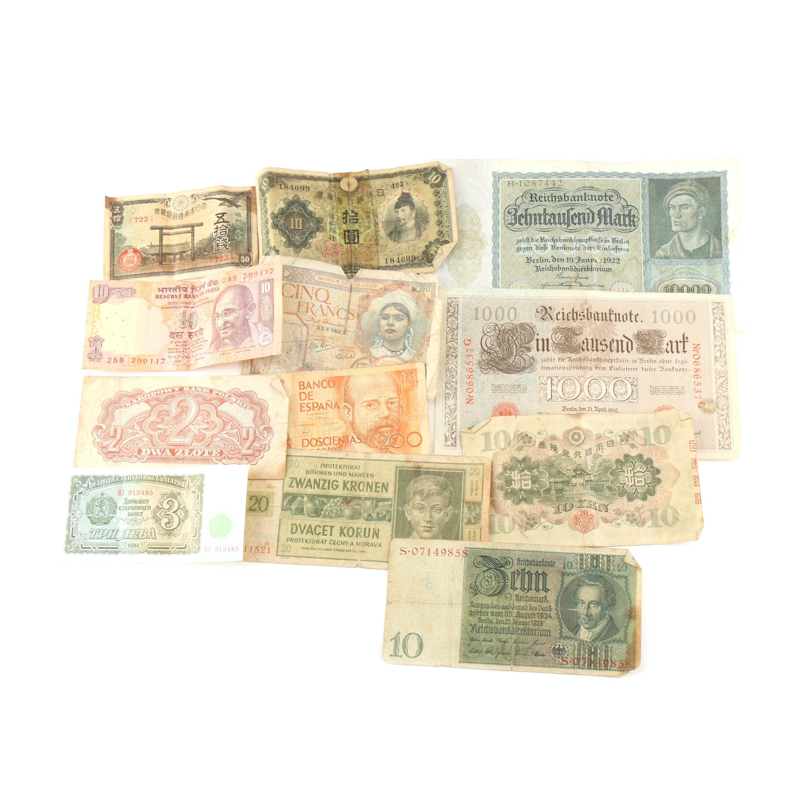 Twelve Vintage Foreign Banknotes