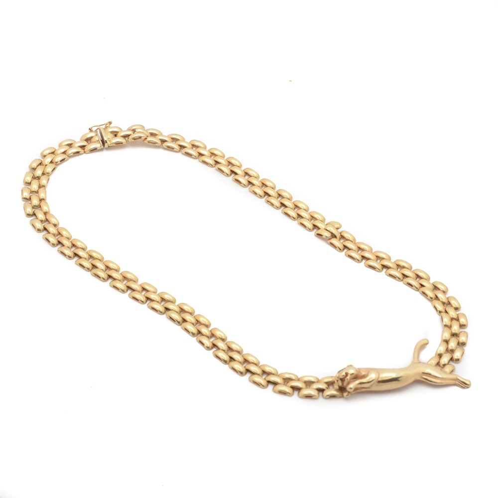 14K Italian Panther Link Necklace with Figural Panther