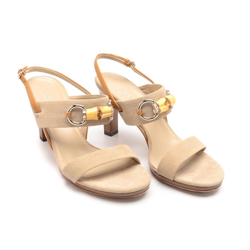 c45394e874cc Gucci Canvas and Leather Sandals   EBTH