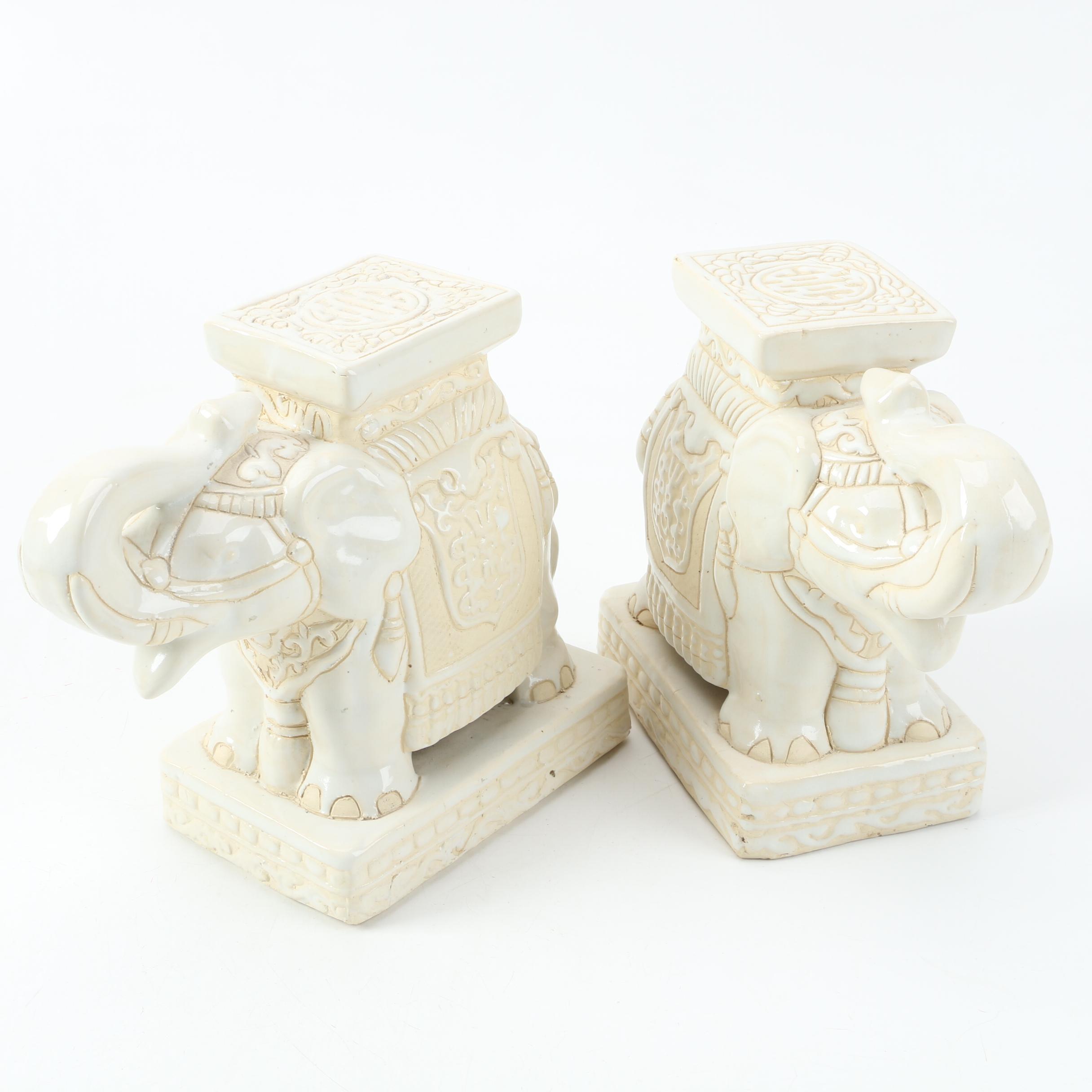 Ceramic Elephant Bookends