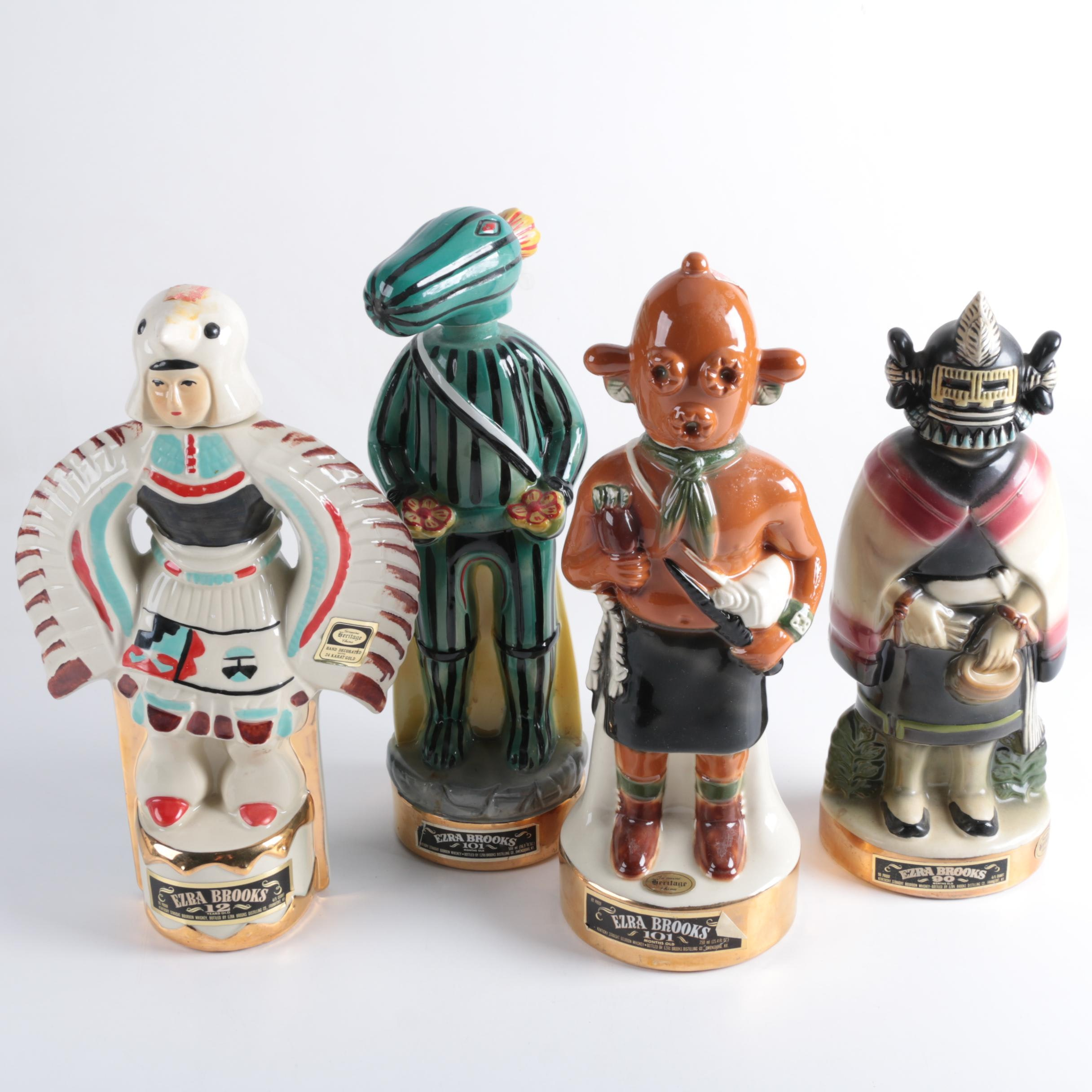 "Vintage Ezra Brooks ""Hopi Kachina"" Whiskey Decanters"