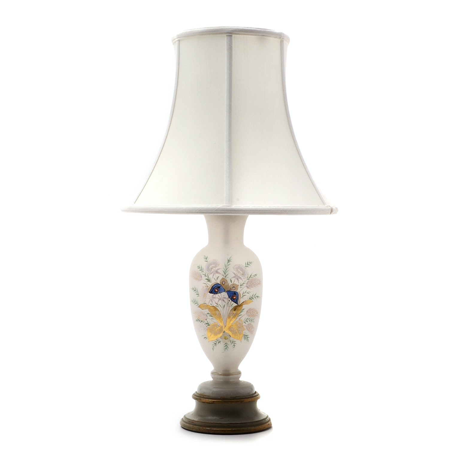 Victorian Bristol Glass Vase Lamp