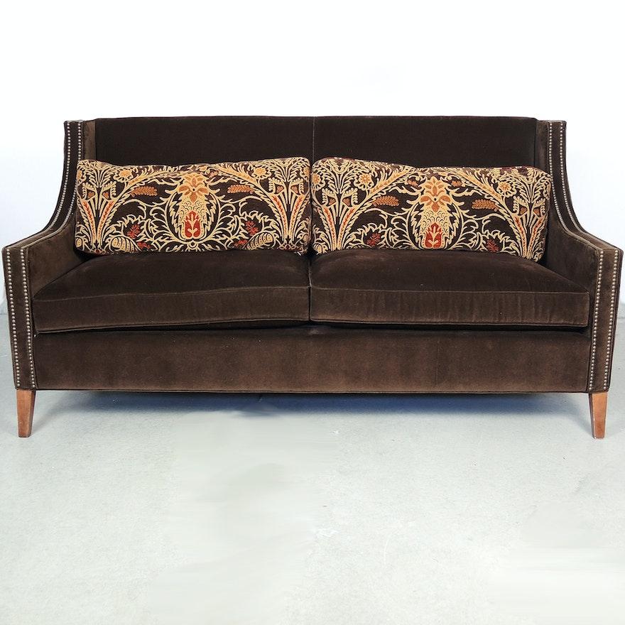 Candice Olson Brown Velvet Sofa
