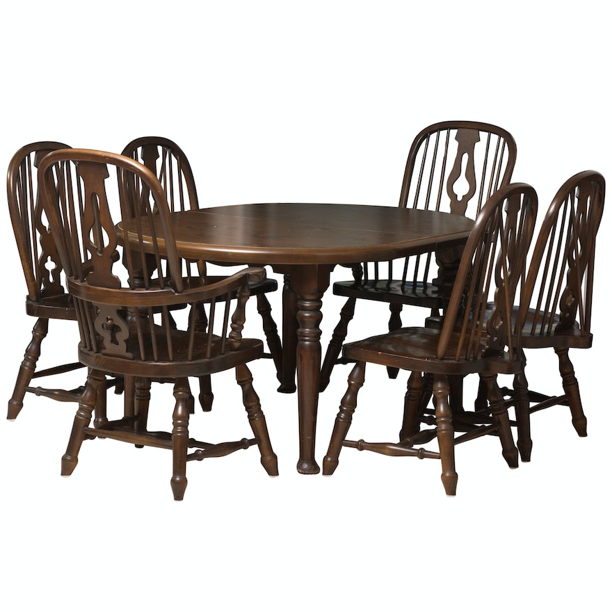 Vintage English Windsor Style Dining Table With Chairs By Virginia House Ebth