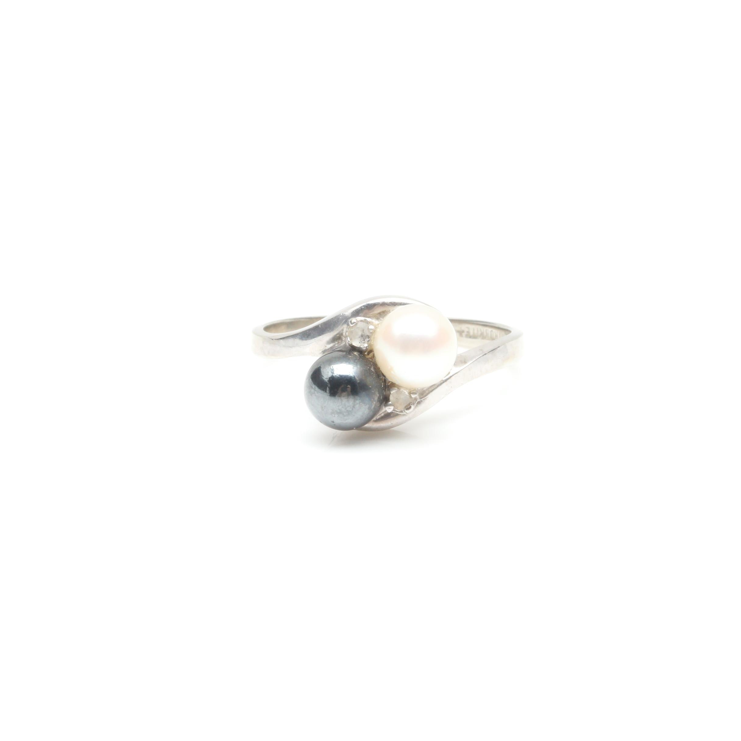10K White Gold Cultured Pearl, Synthetic Hematite, and Diamond Ring