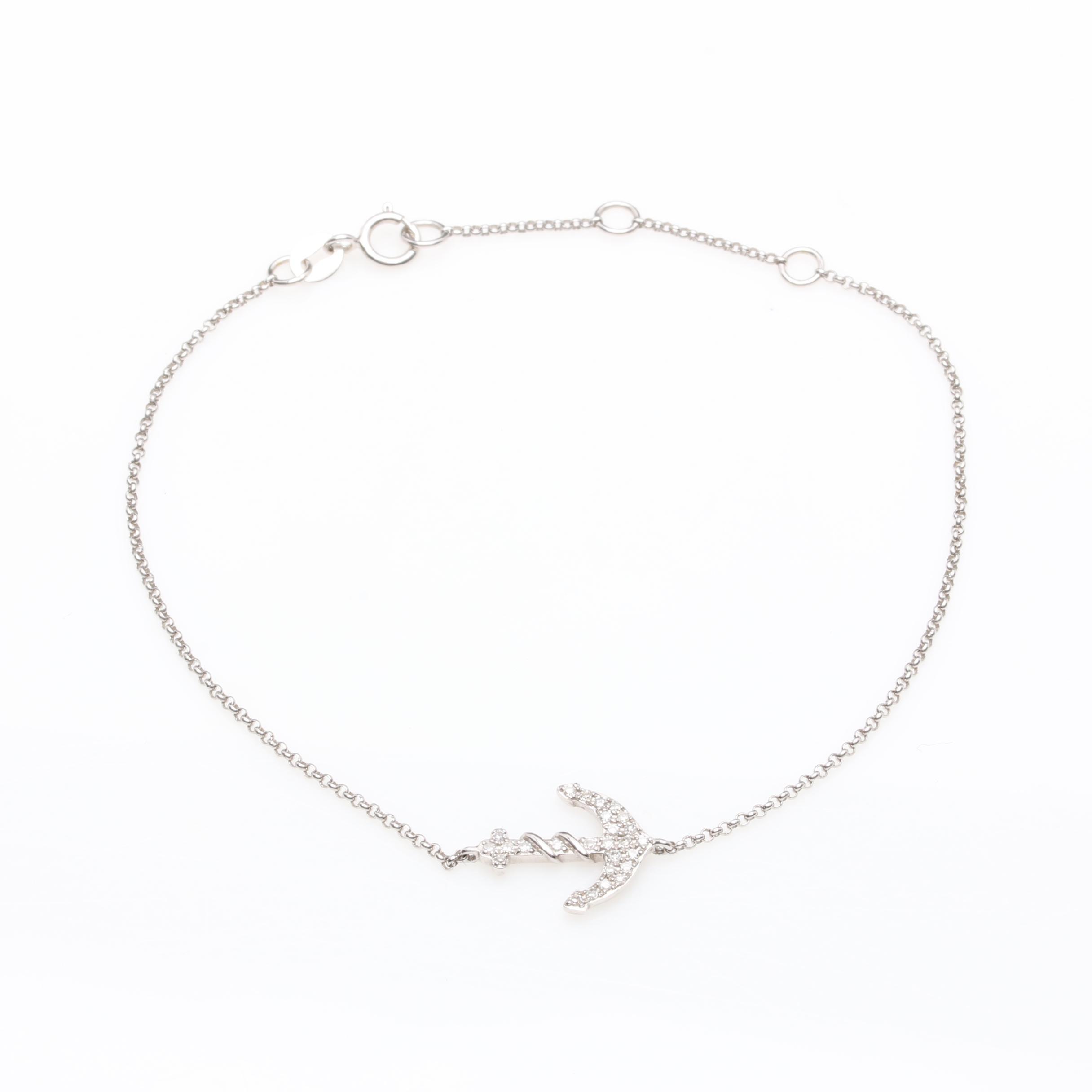 Effy 14K White Gold Diamond Anchor Bracelet