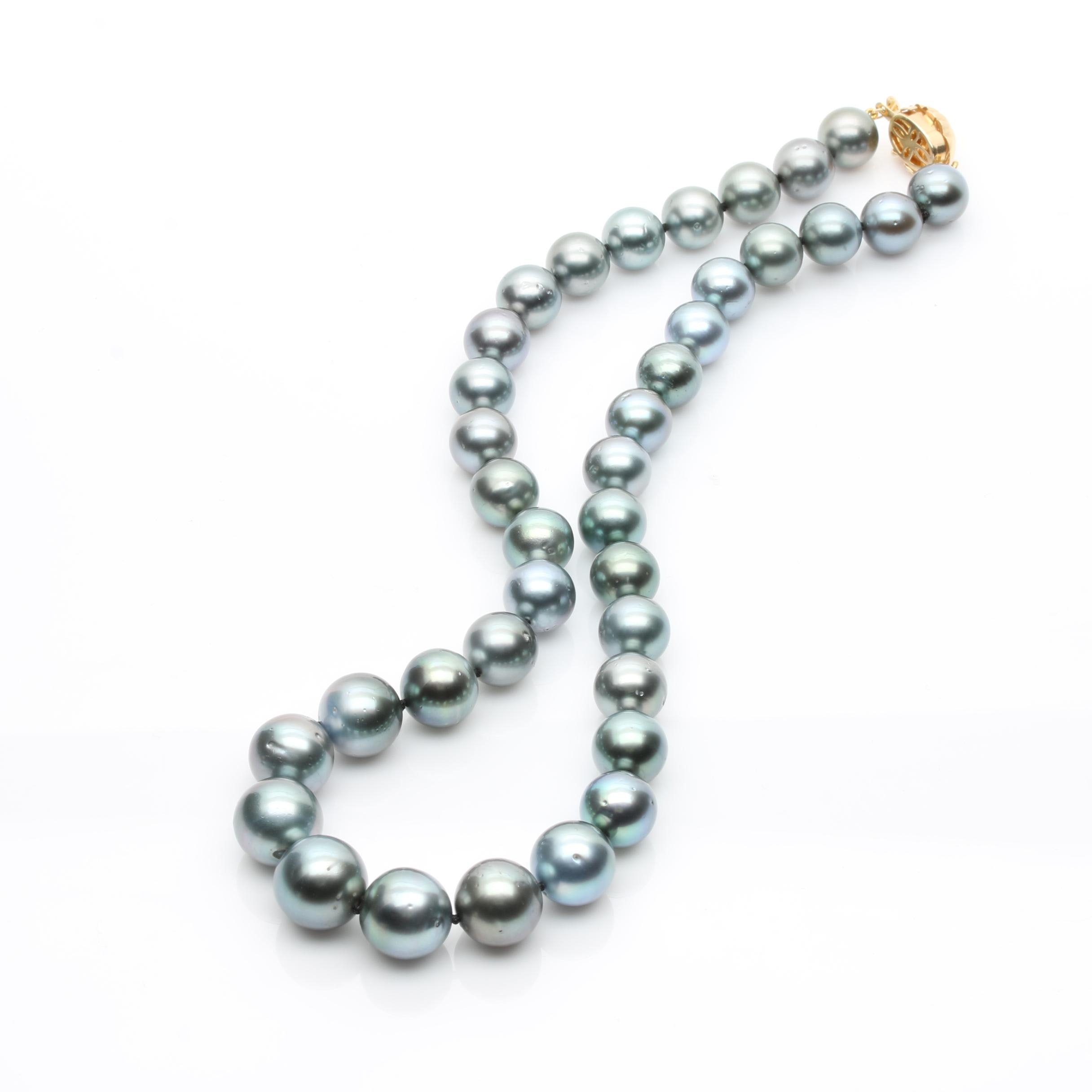 14K Yellow Gold Cultured Tahitian Pearl Necklace